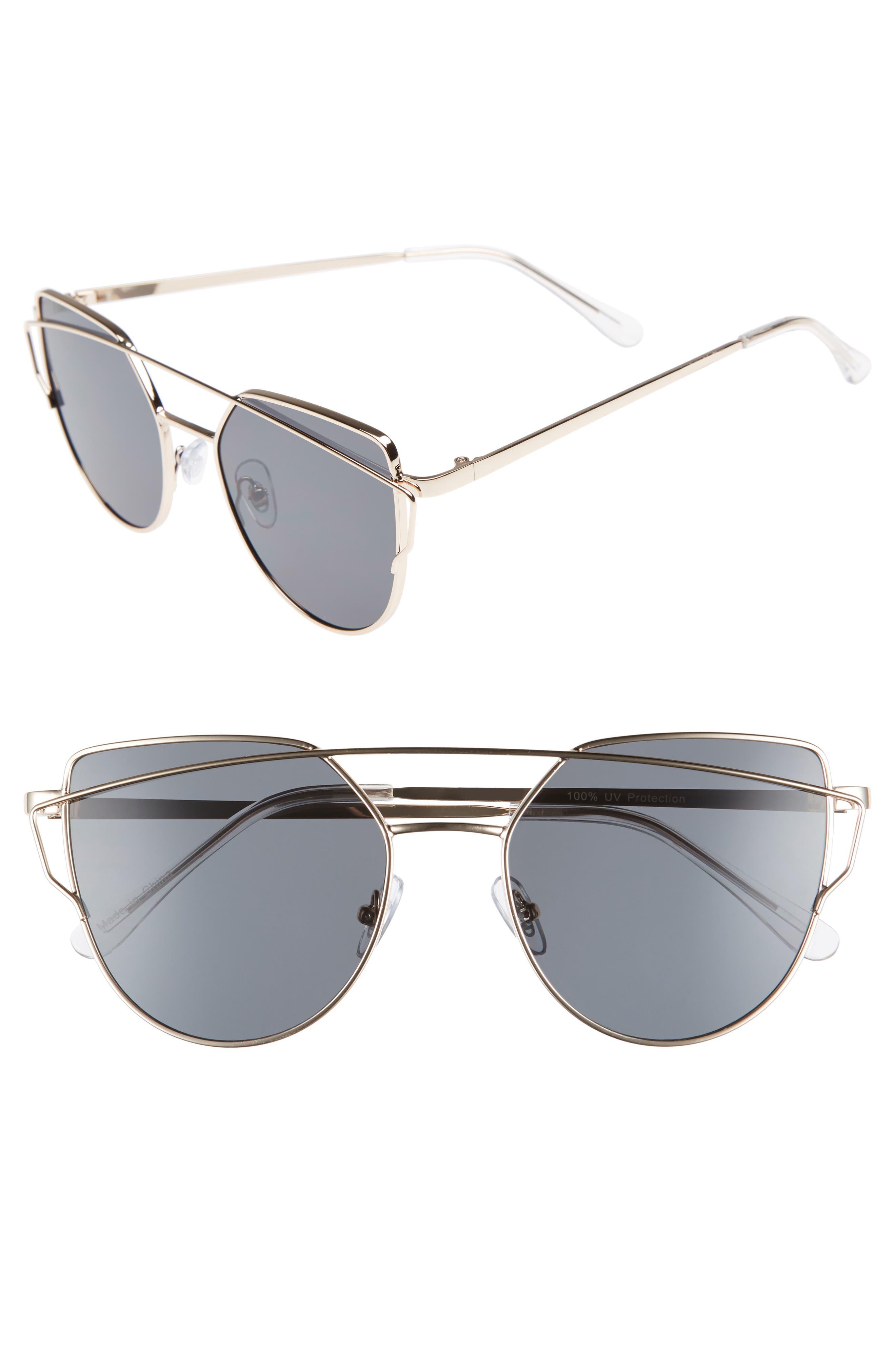 BP. 51mm Thin Brow Angular Aviator Sunglasses