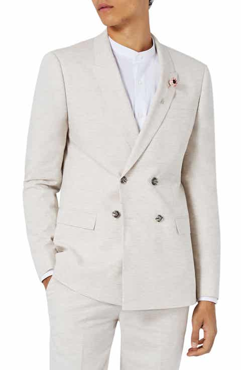 Topman Skinny Fit Double Breasted Marled Suit Jacket