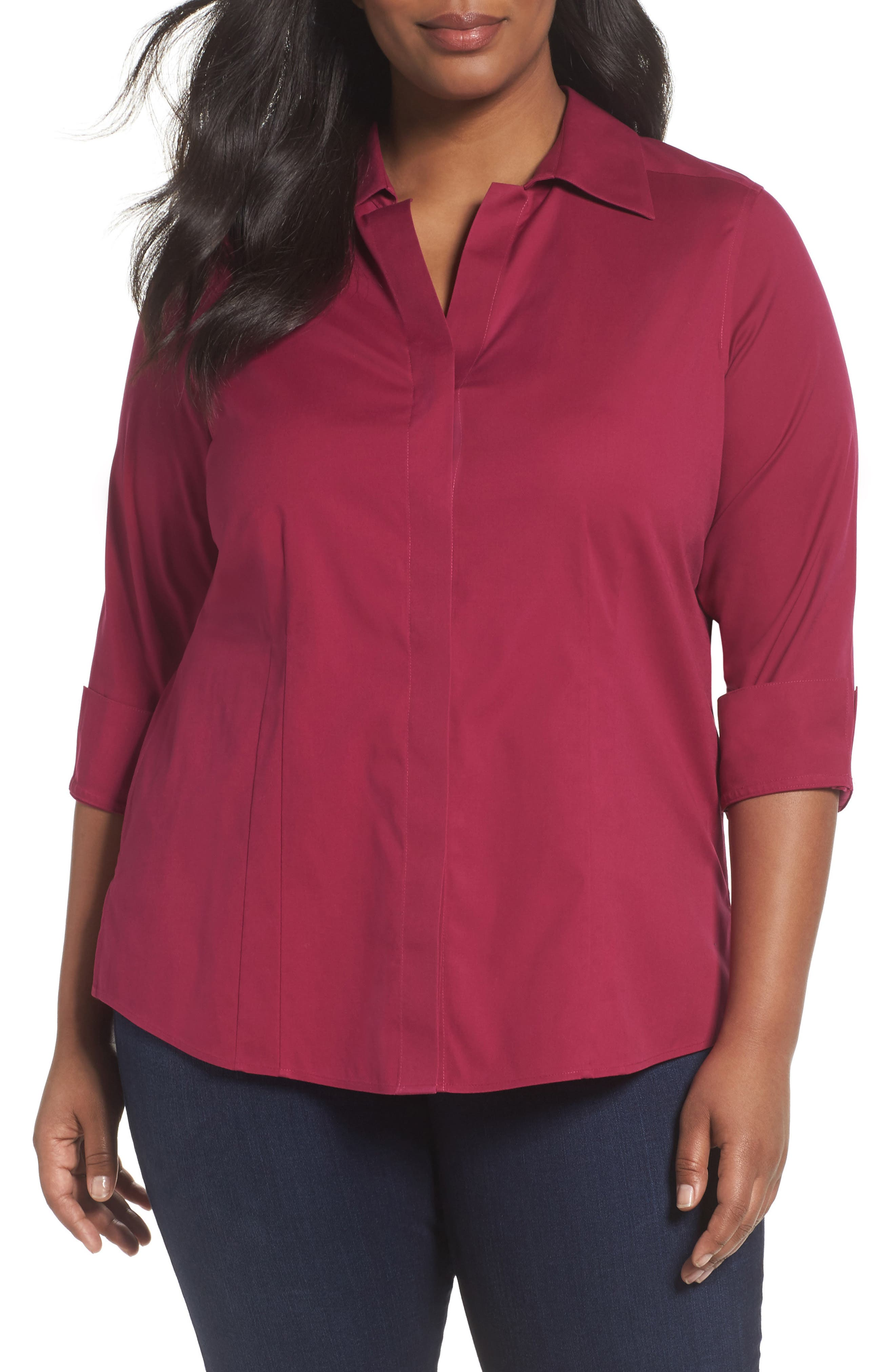 Foxcroft Taylor Free Fit Stretch Blouse (Plus Size)