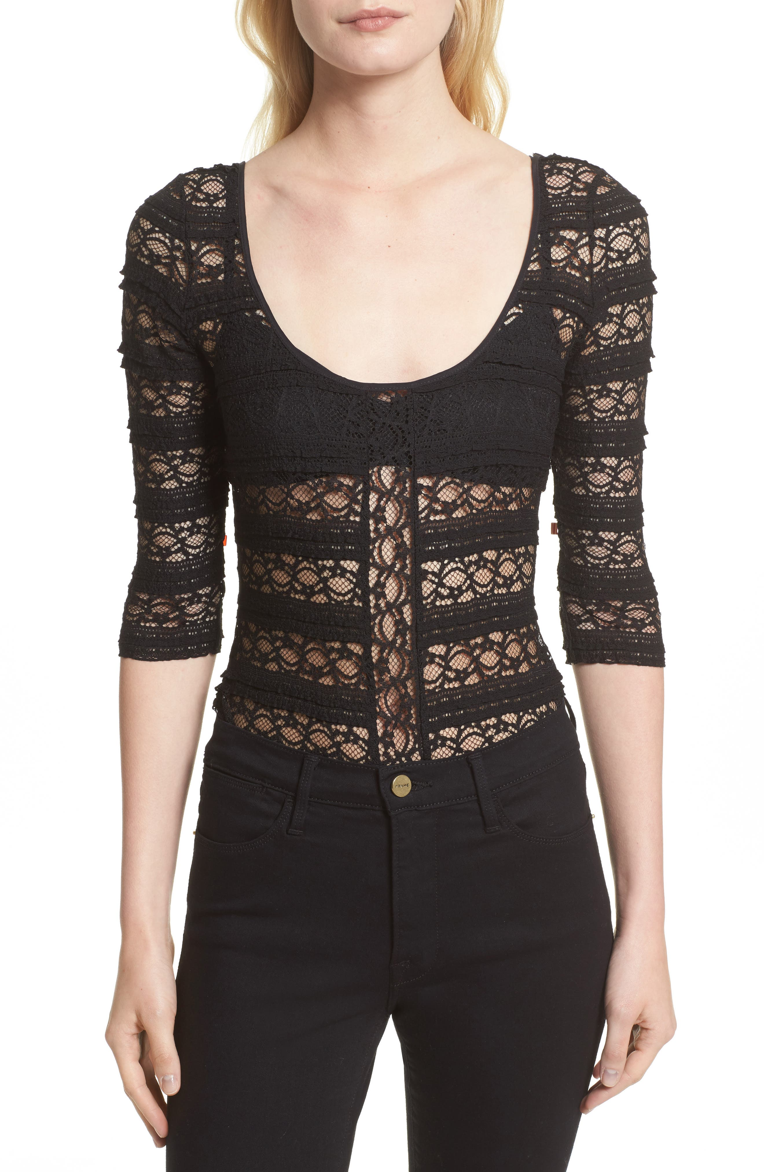 Cinq à Sept Marla Silk Lace Bodysuit (Nordstrom Exclusive)
