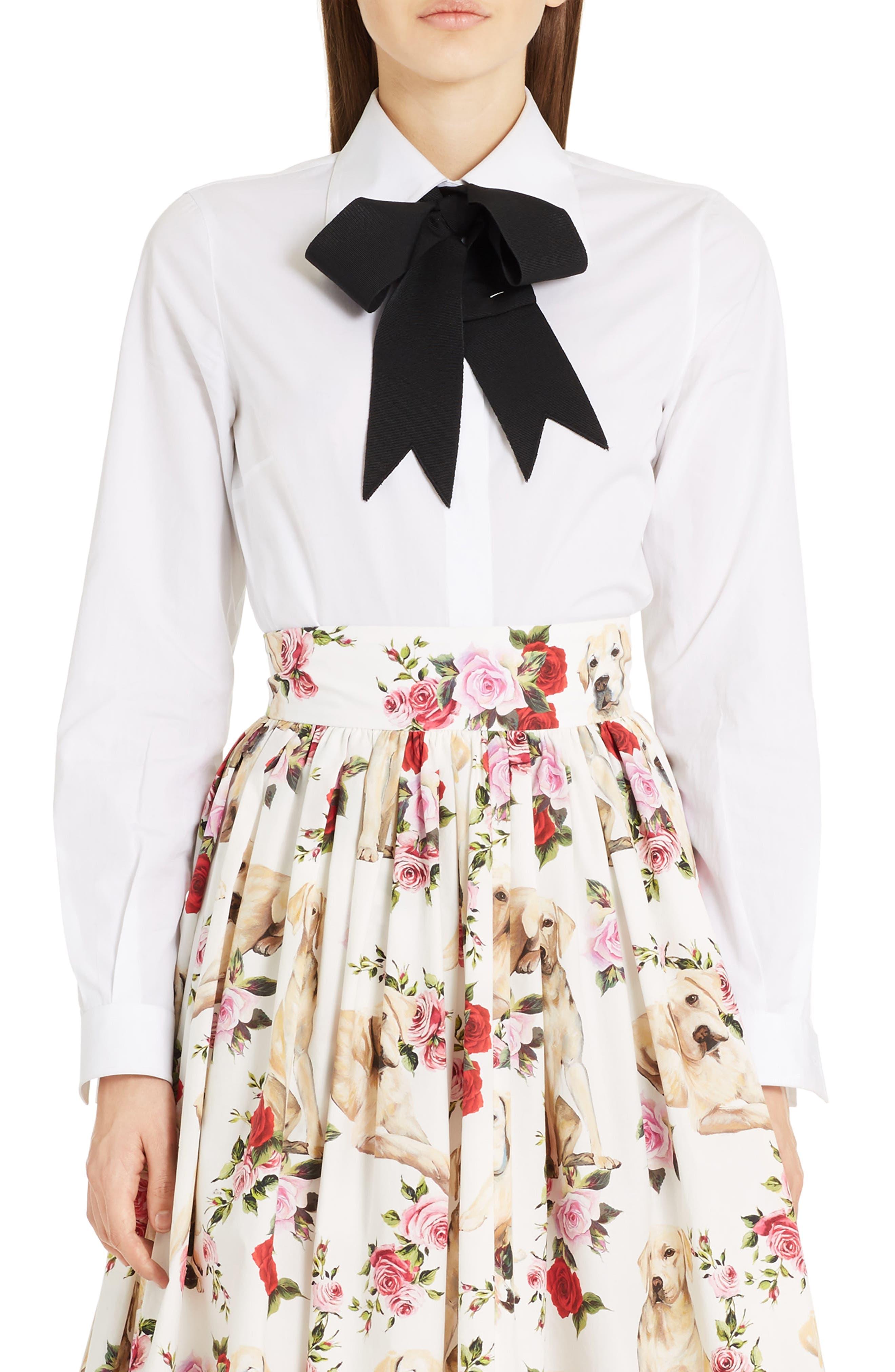 Dolce&Gabbana Cotton Poplin Blouse with Bow