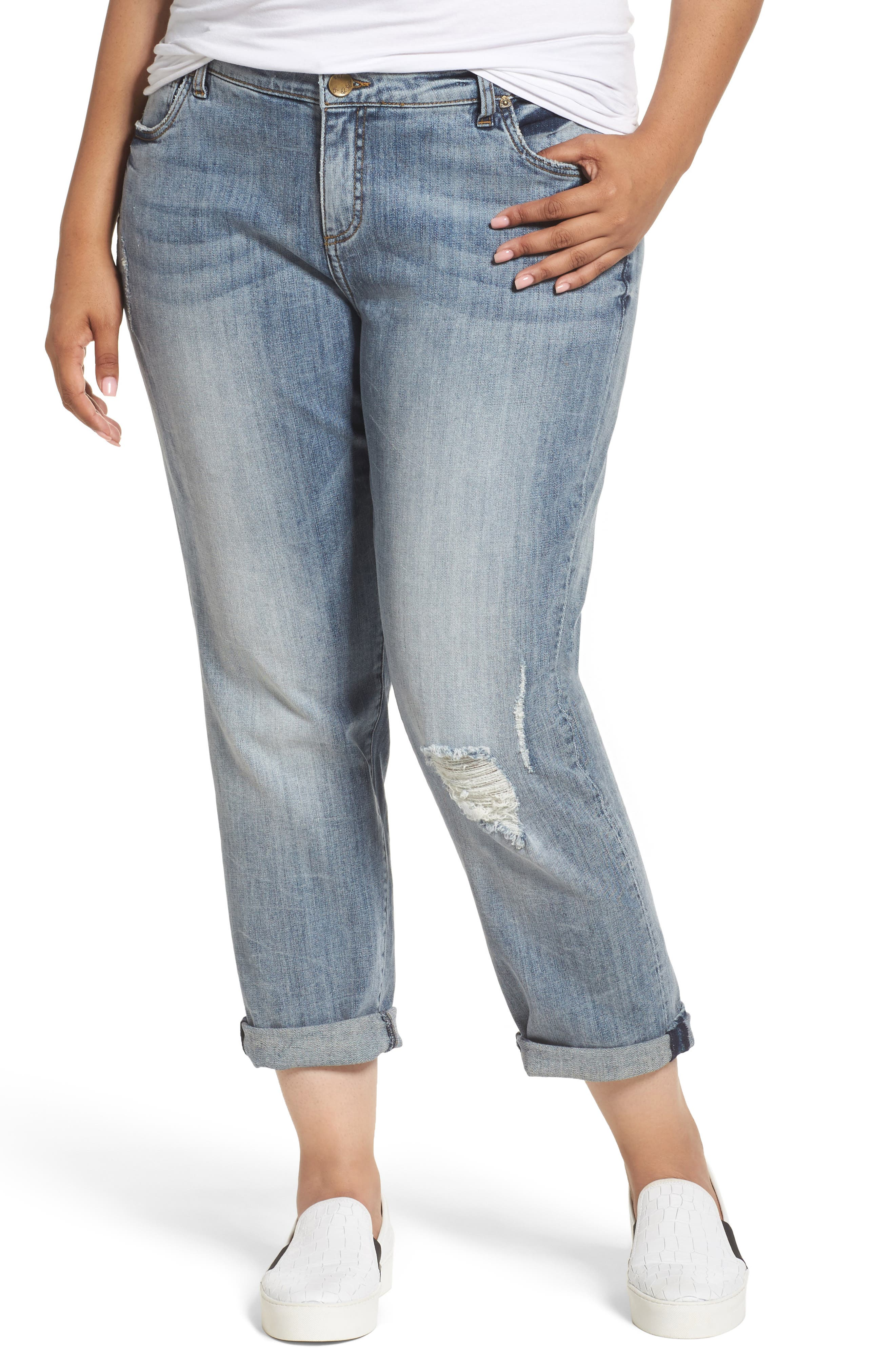 Alternate Image 1 Selected - KUT from the Kloth Catherine Stretch Distressed Boyfriend Jeans (Regarded) (Plus Size)