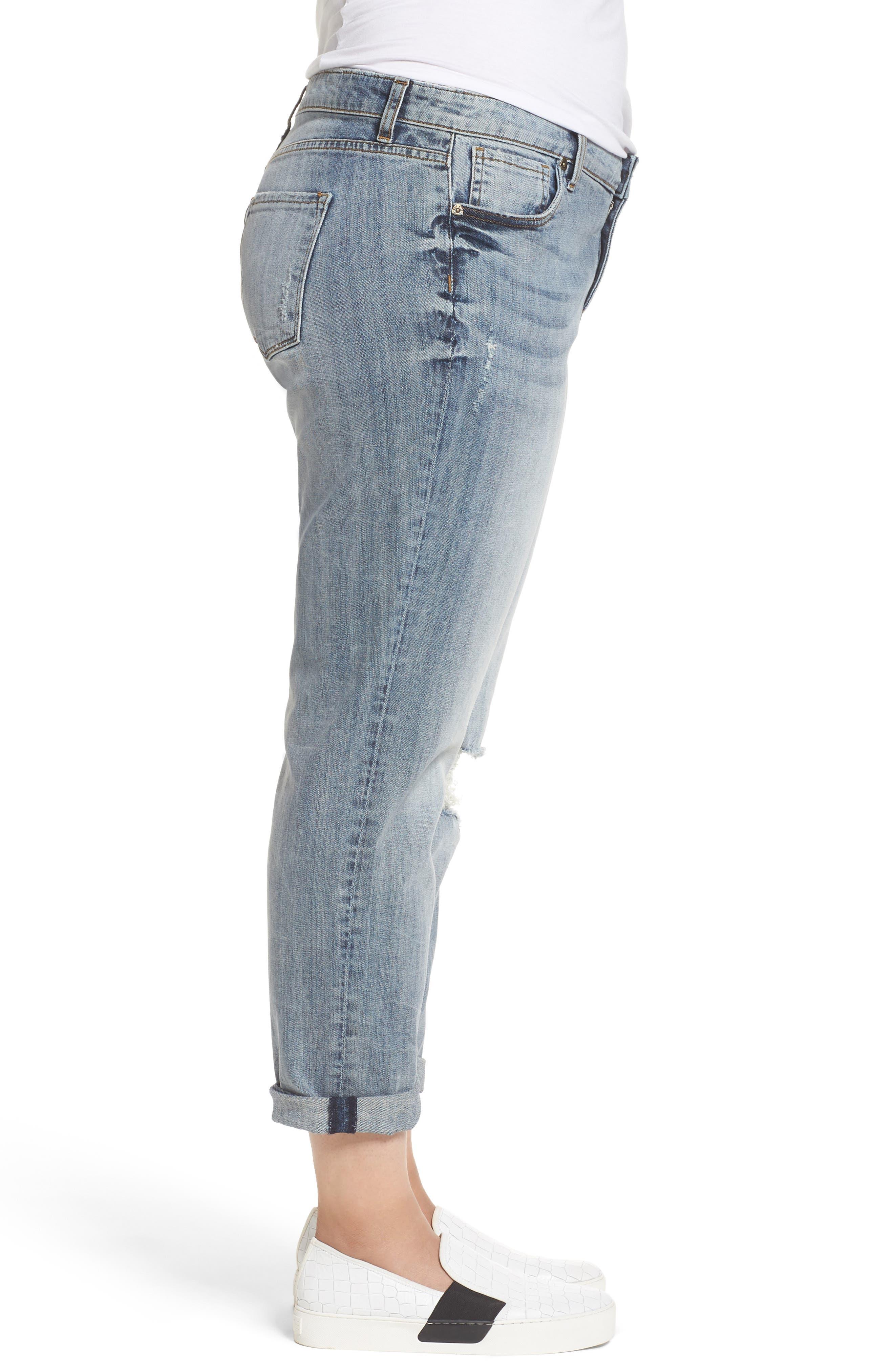 Alternate Image 3  - KUT from the Kloth Catherine Stretch Distressed Boyfriend Jeans (Regarded) (Plus Size)