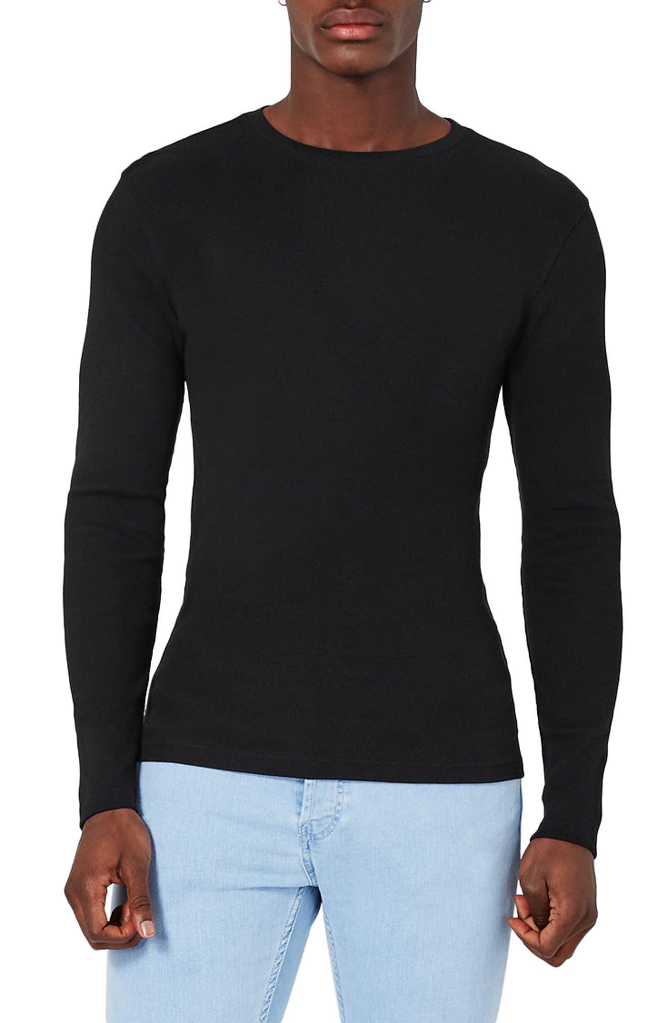Topman Rib Knit Long Sleeve T-Shirt