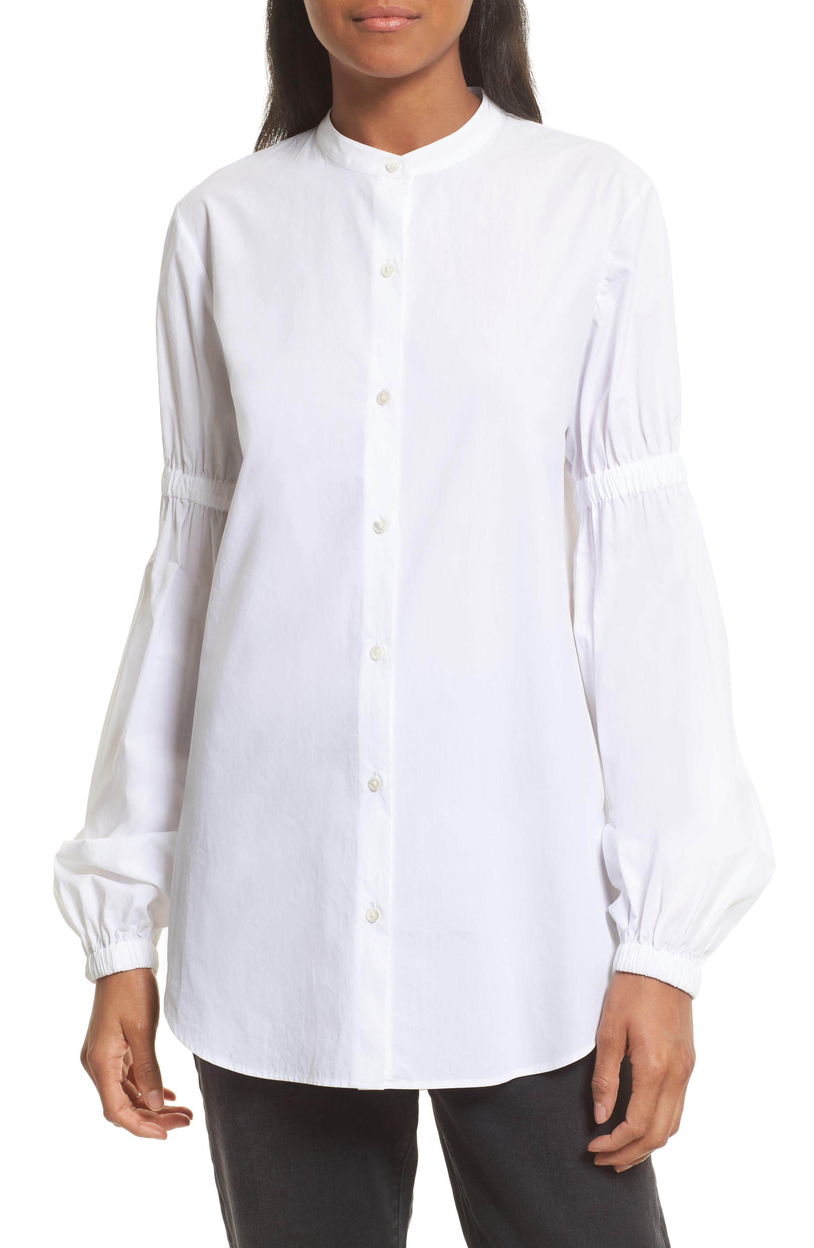 Robert Rodriguez Puff Sleeve Cotton Poplin Shirt