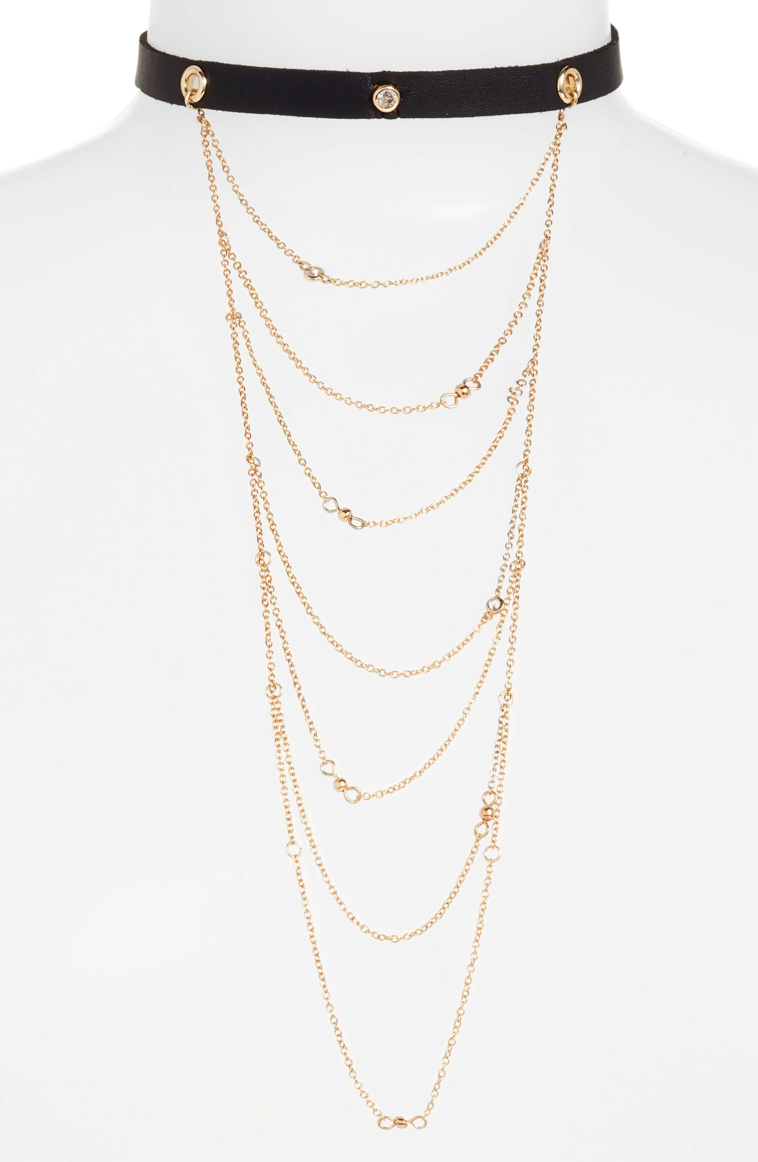 Ettika Layered Chain & Leather Choker