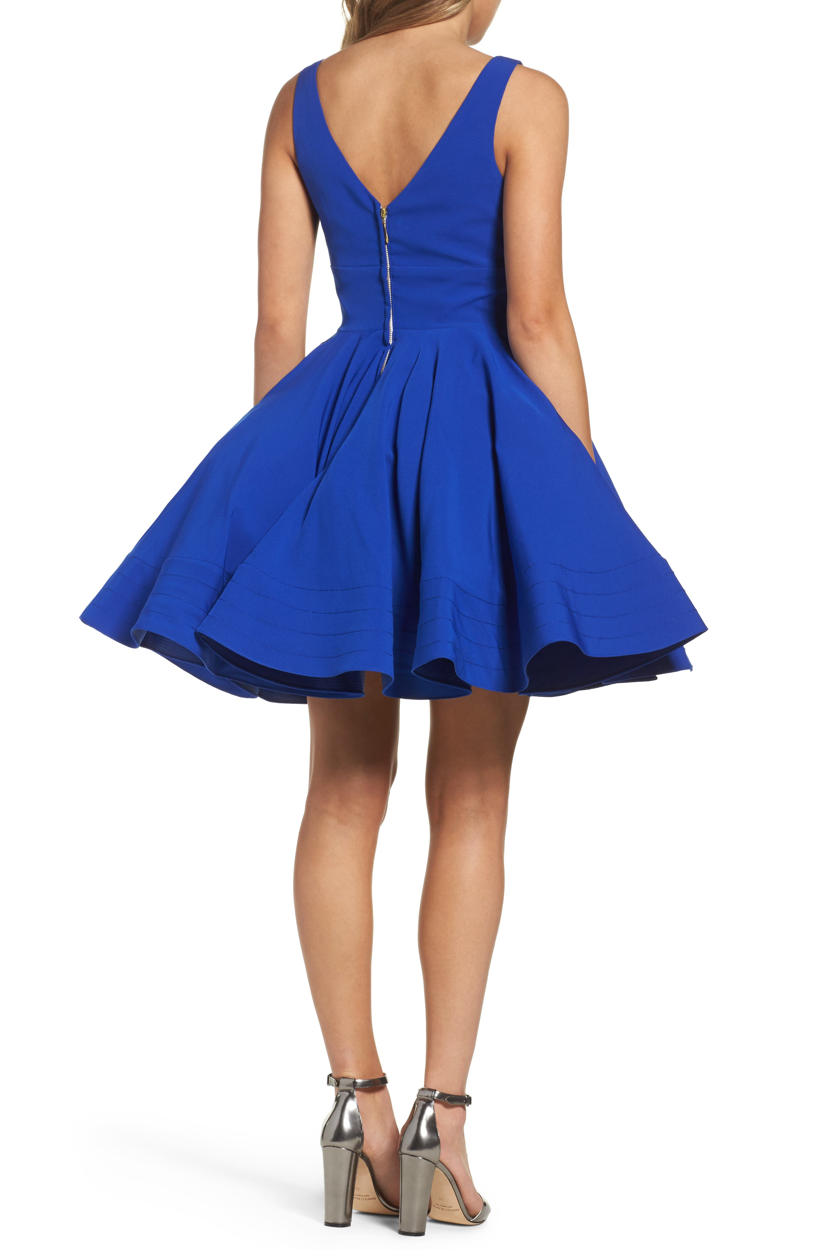 Alternate Image 2  - Ieena for Mac Duggal Double V-Neck Fit & Flare Party Dress