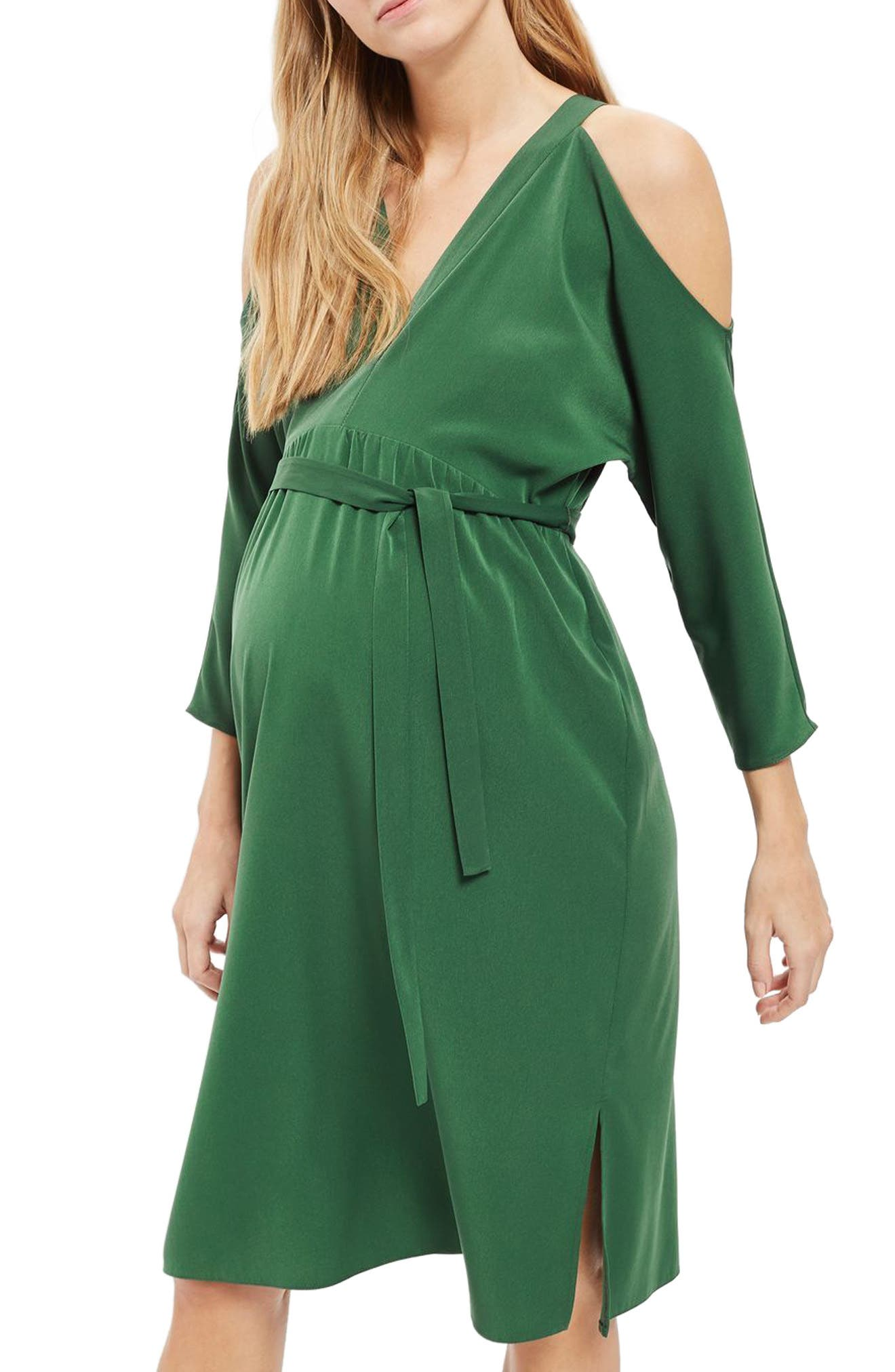 Topshop Cutout Belted Maternity Dress