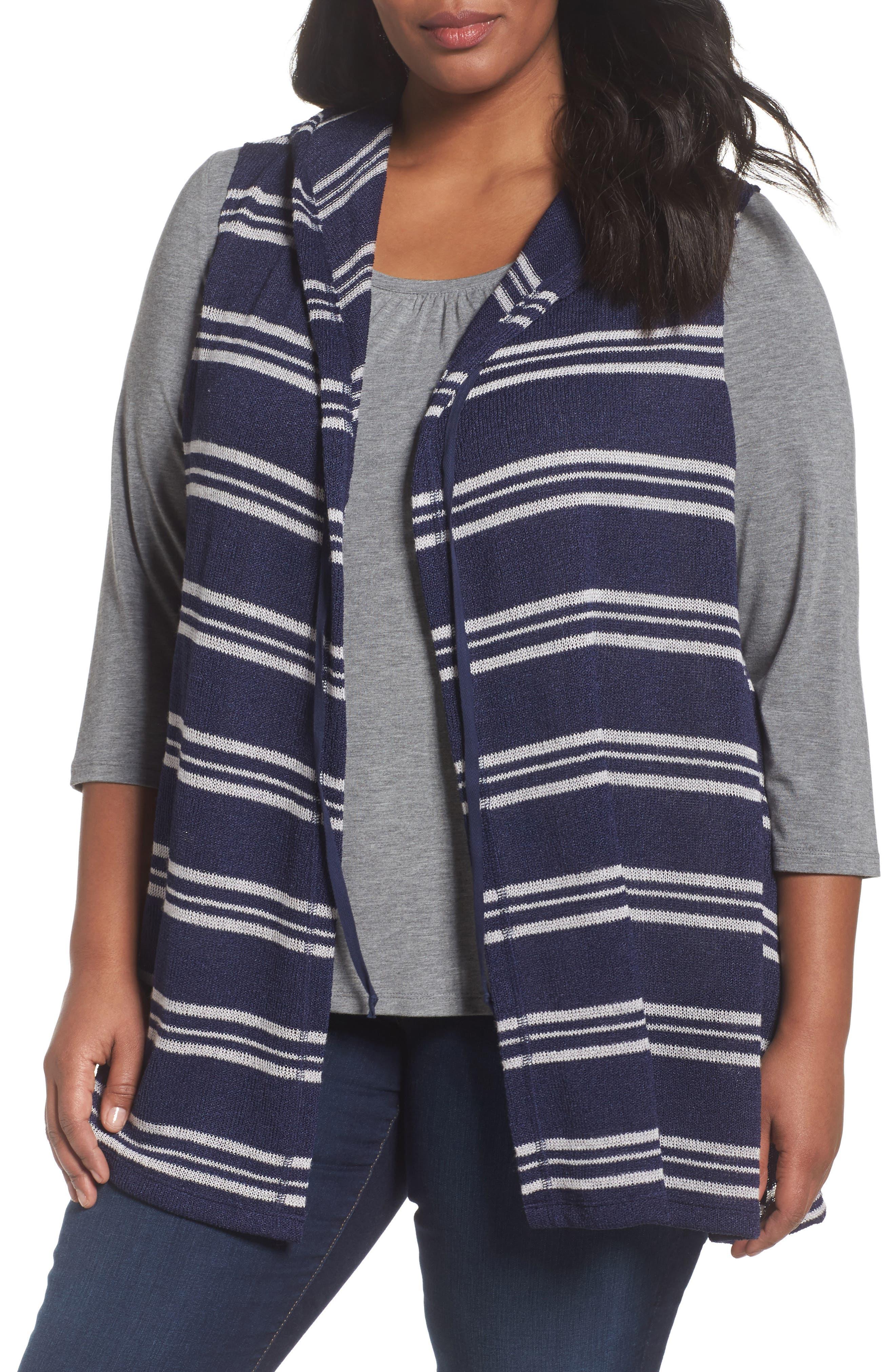 Sejour Hooded Stripe Vest (Plus Size)