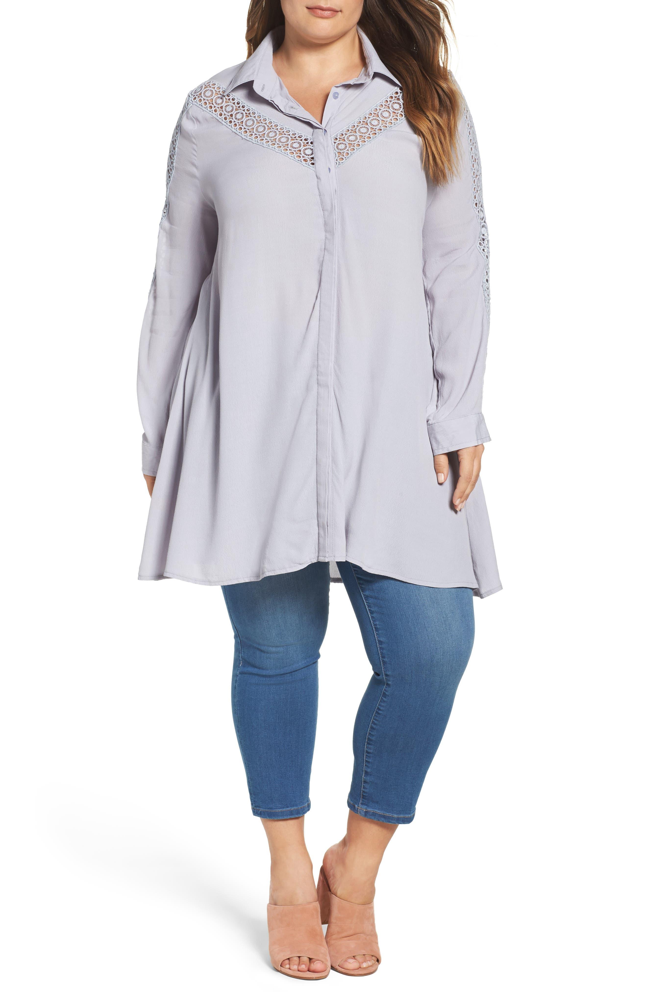 Glamorous Lace Inset Shirt (Plus Size)