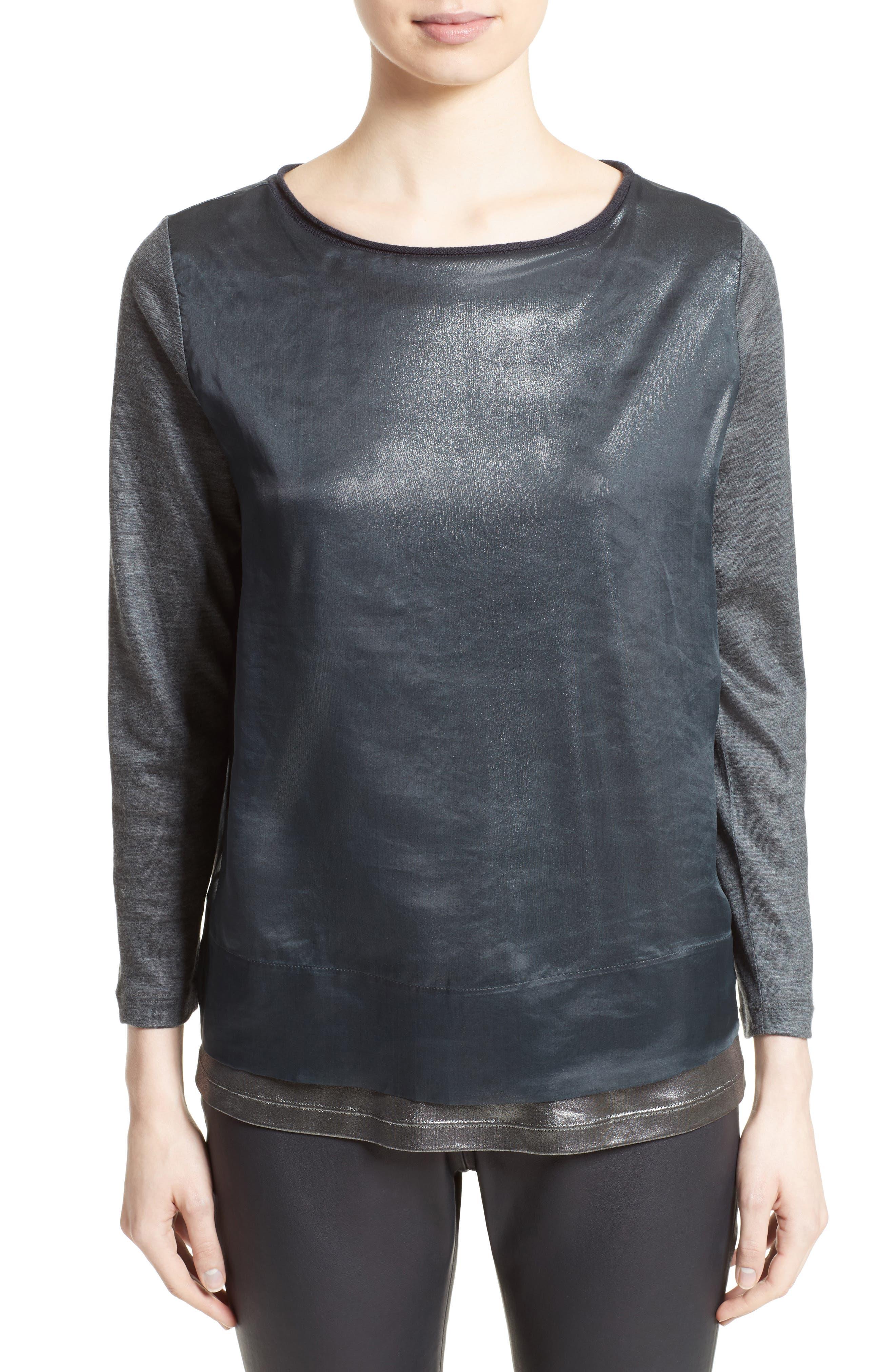 Fabiana Filippi Laminated Jersey Top with Metallic Organza Overlay