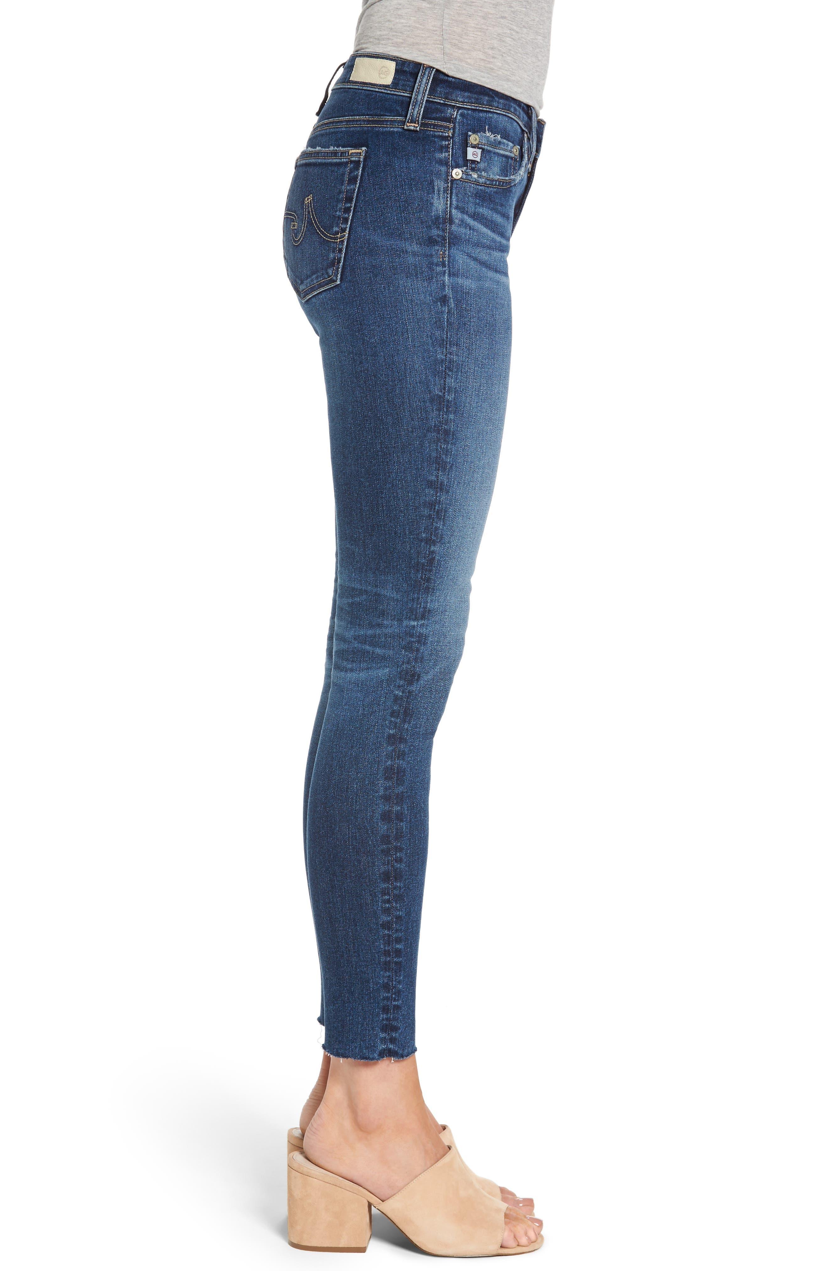 Alternate Image 4  - AG The Legging Raw Hem Ankle Skinny Jeans (12 Years Blue Dust)