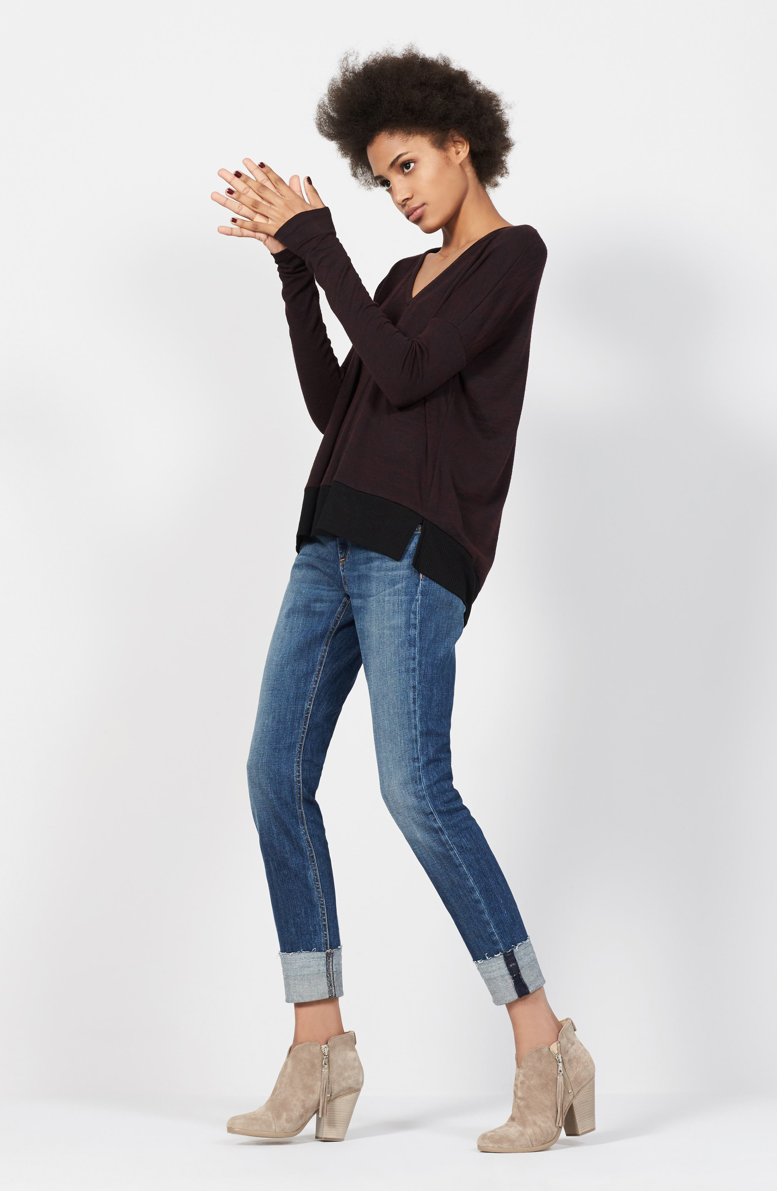rag & bone/JEAN Tee & Jeans Outfit with Accessories