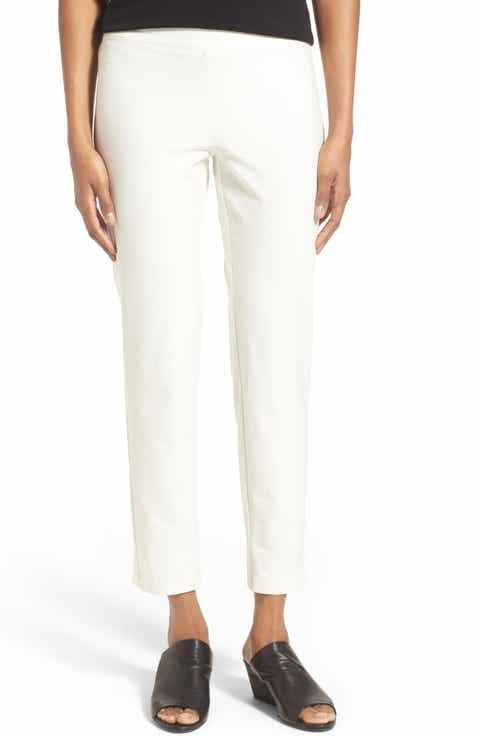 Eileen Fisher Stretch Crepe Slim Ankle Pants (Regular   Petite)