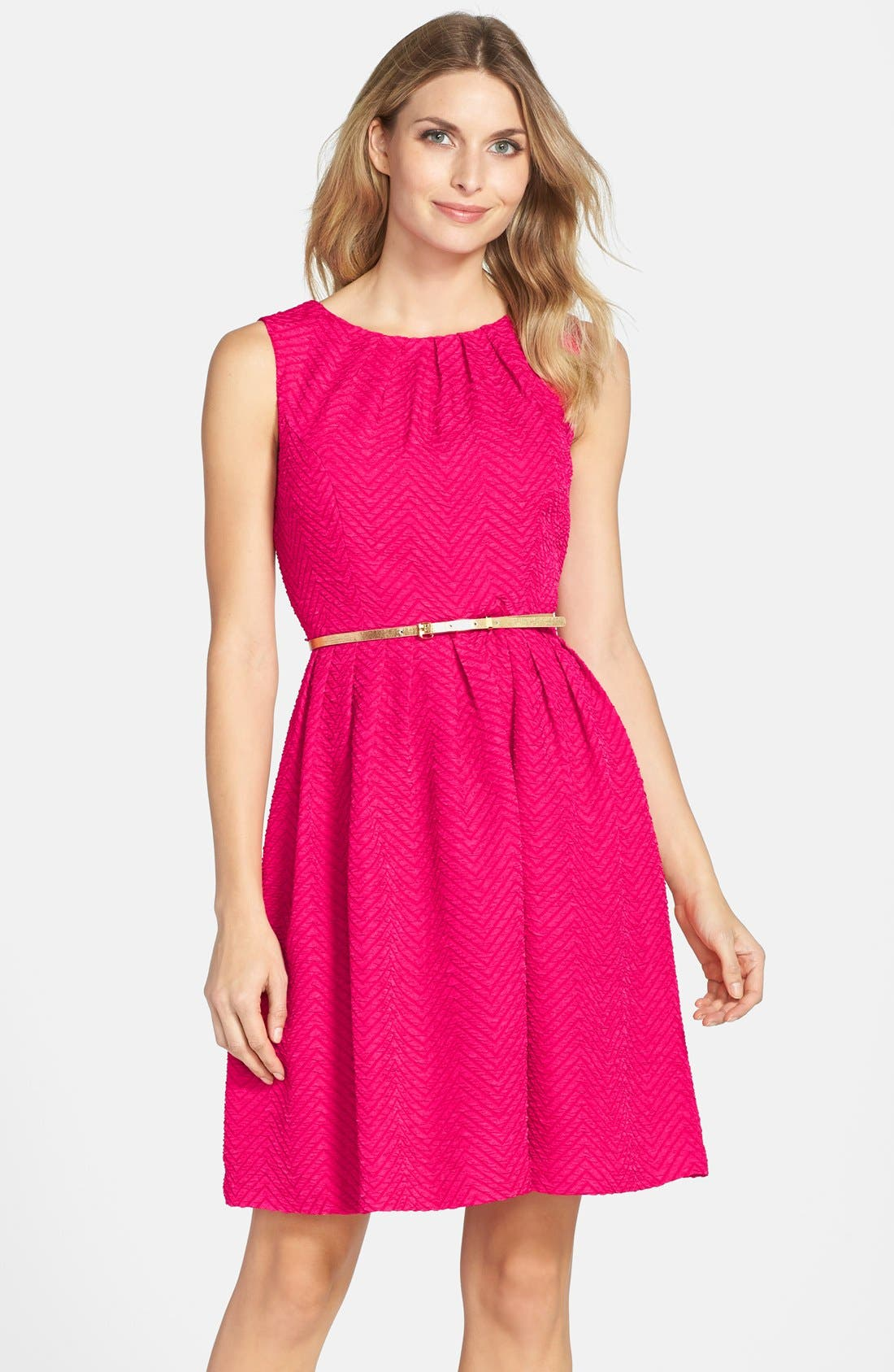 Alternate Image 1 Selected - Ellen Tracy Belted Fit & Flare Dress