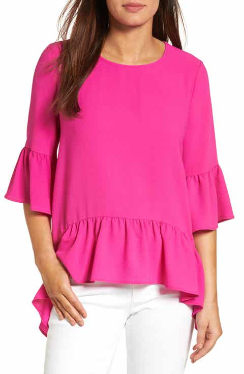 Gibson Ruffled Handkerchief Hem Top (Regular   Petite)
