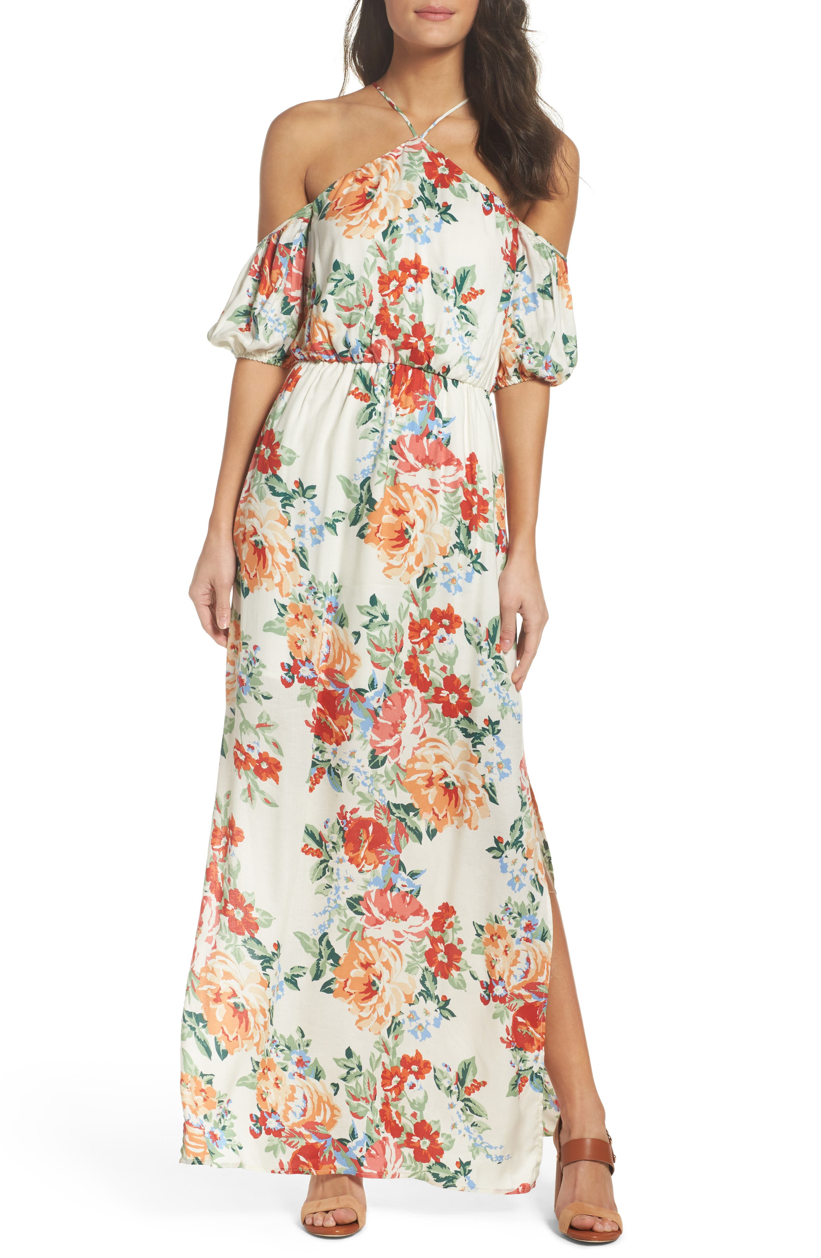 Alternate Image 1 Selected - Charles Henry Cold Shoulder Blouson Dress (Regular & Petite)