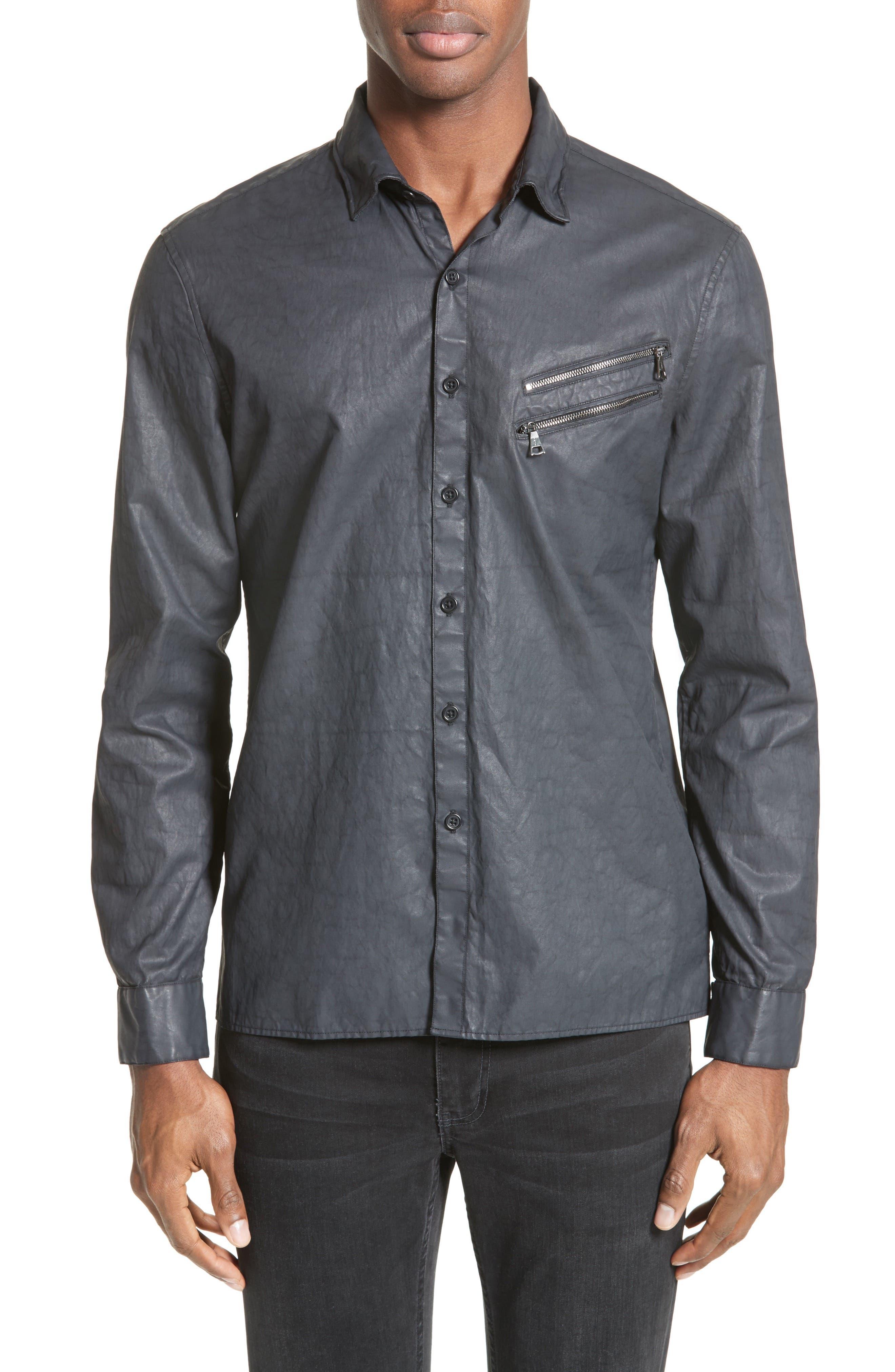 John Varvatos Collection Double Zip Pocket Coated Shirt