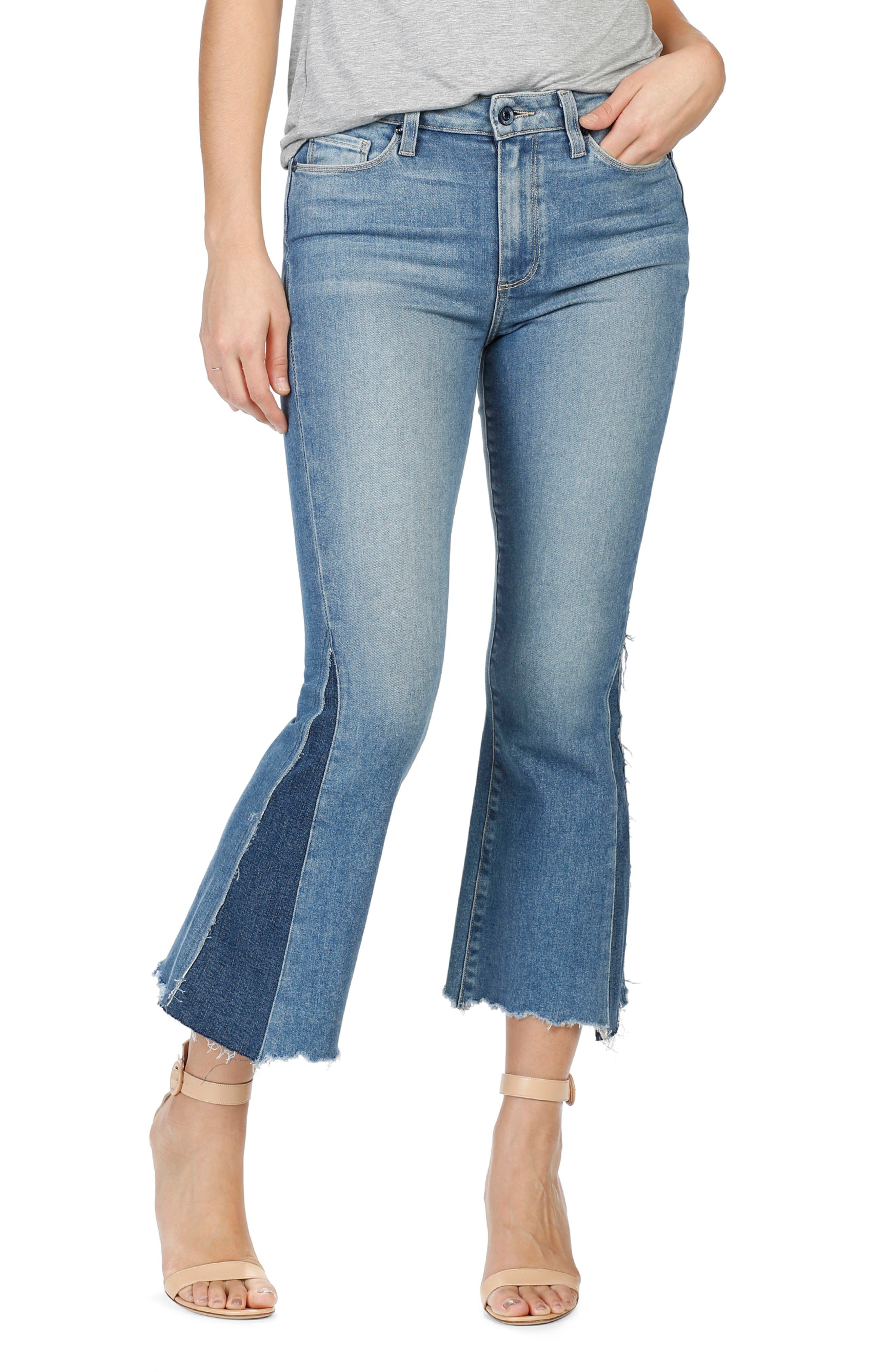 PAIGE Legacy Colette Pieced High Rise Raw Hem Crop Flare Jeans (Rudy)