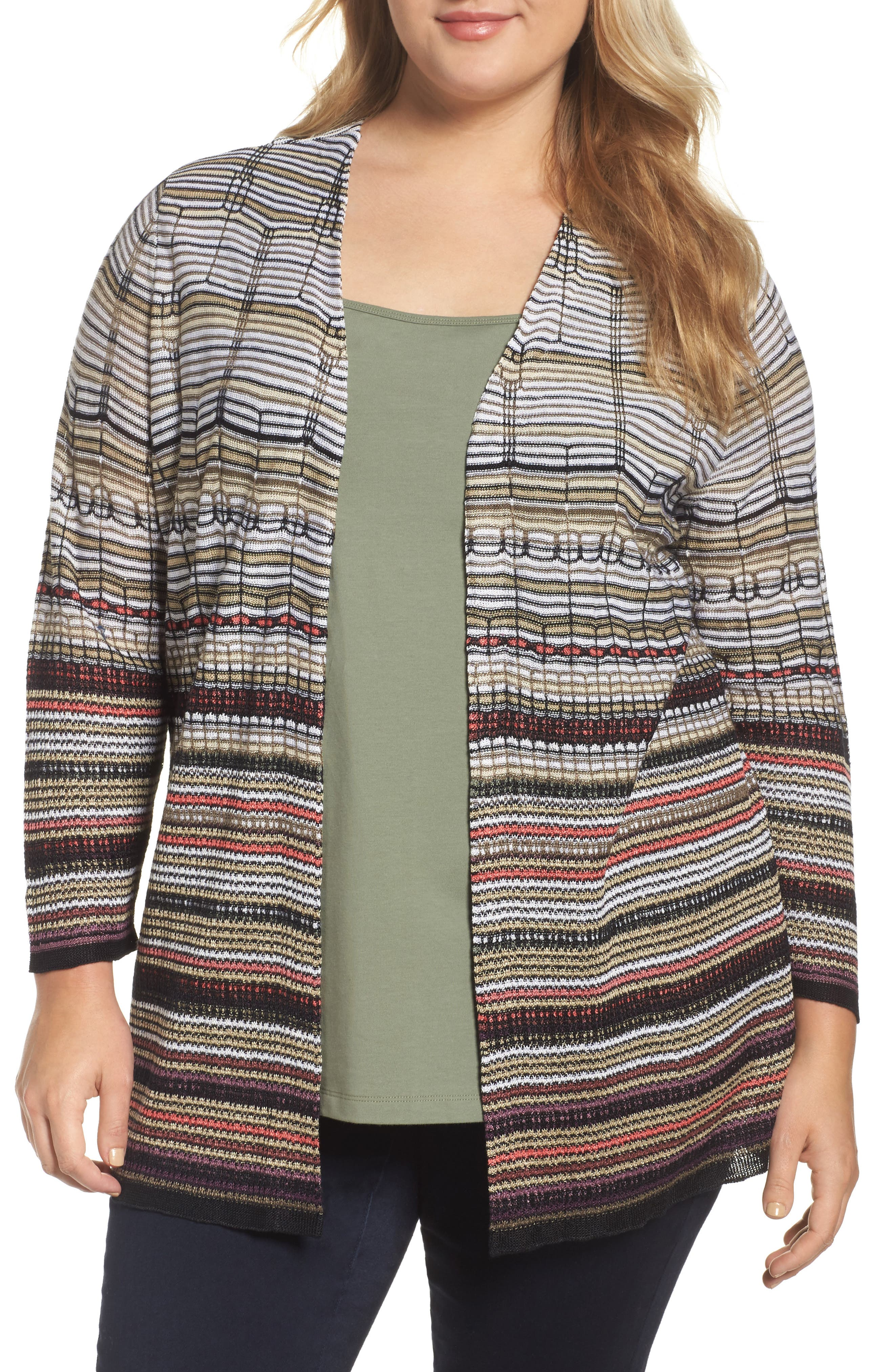 NIC+ZOE Colorscale Open Cardigan (Plus Size)