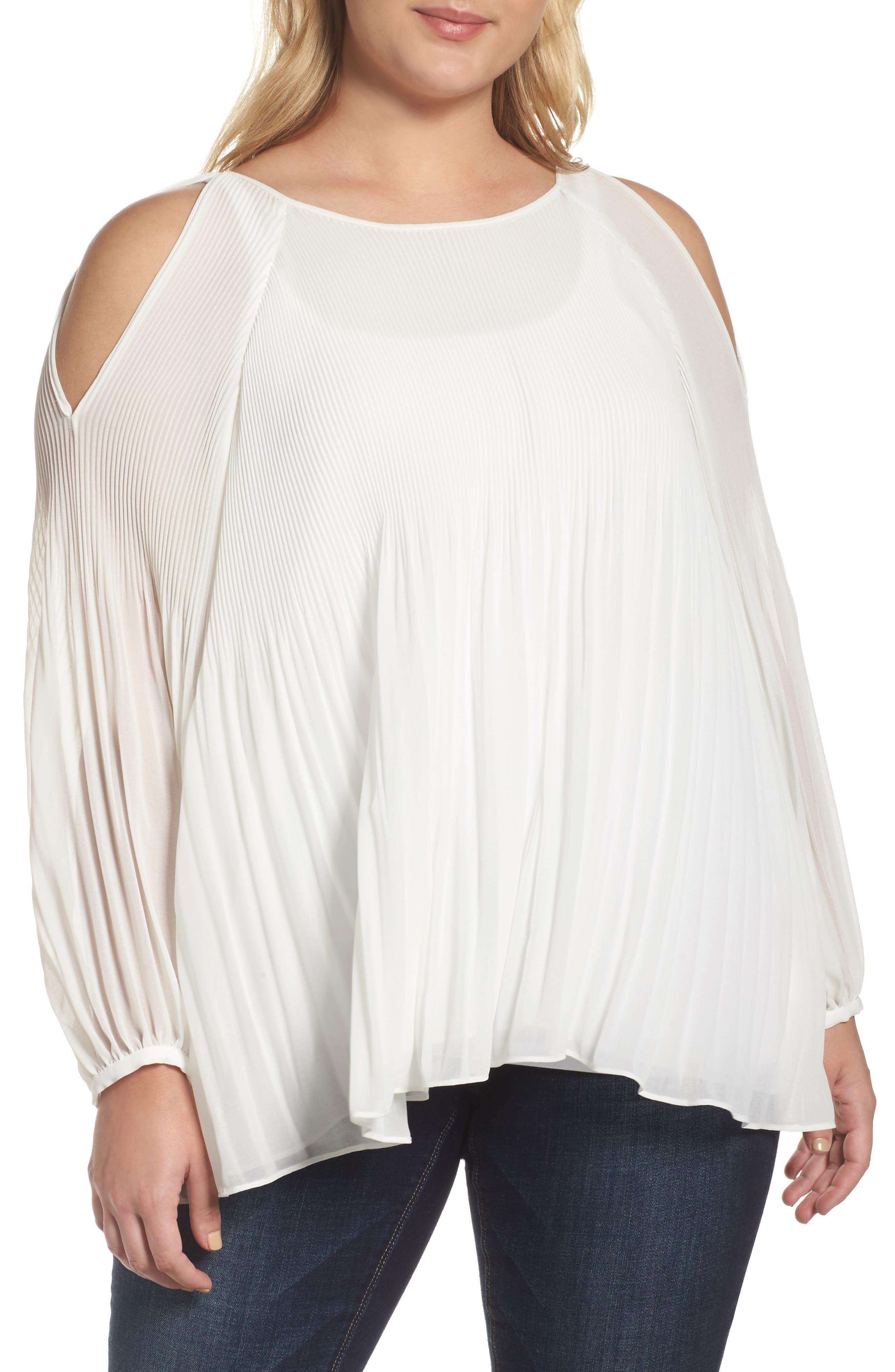 Glamorous Pleat Cold Shoulder Blouse (Plus Size)