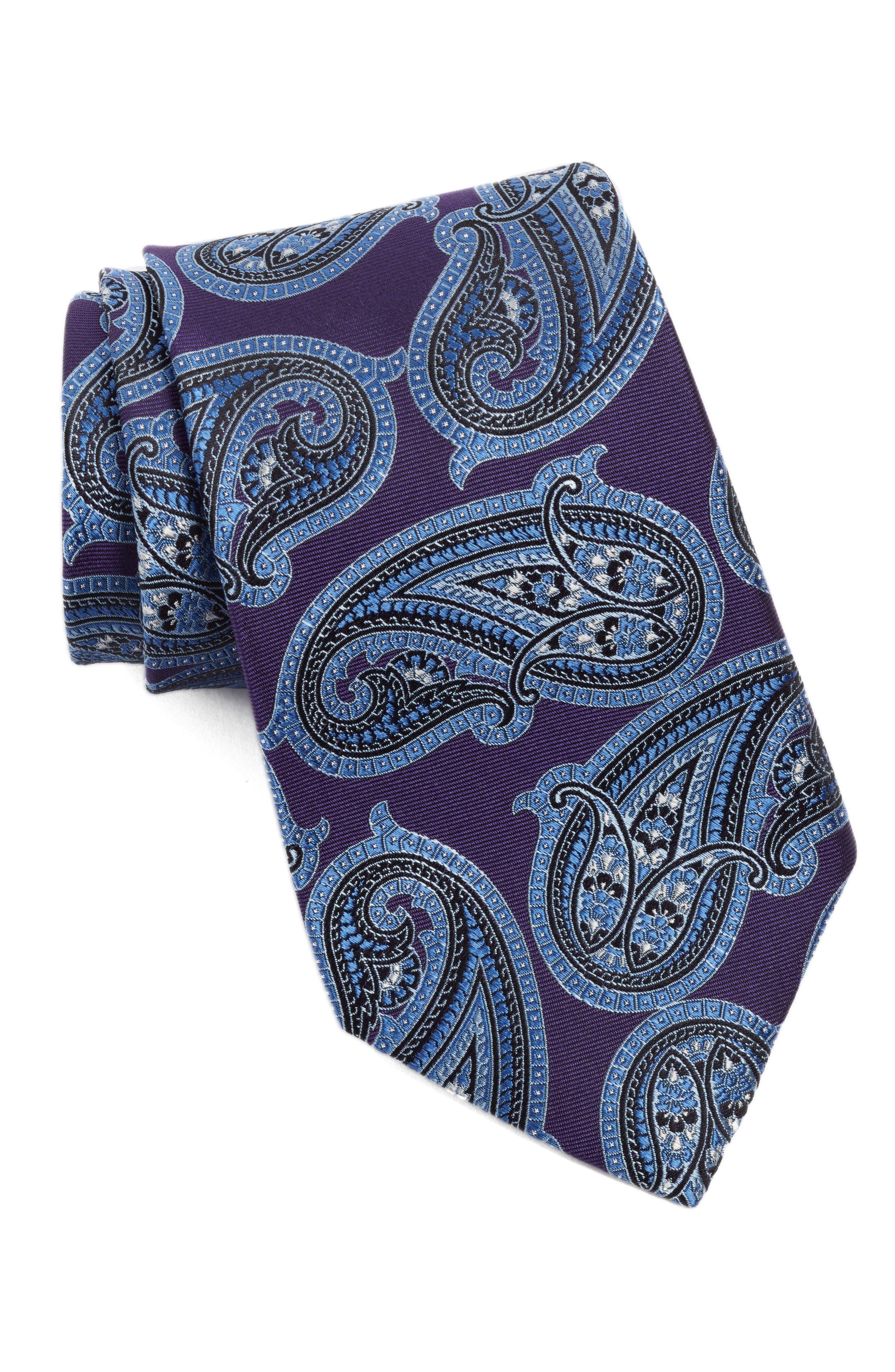 Nordstrom Men's Shop Paisley Twill Silk Tie (X-Long)
