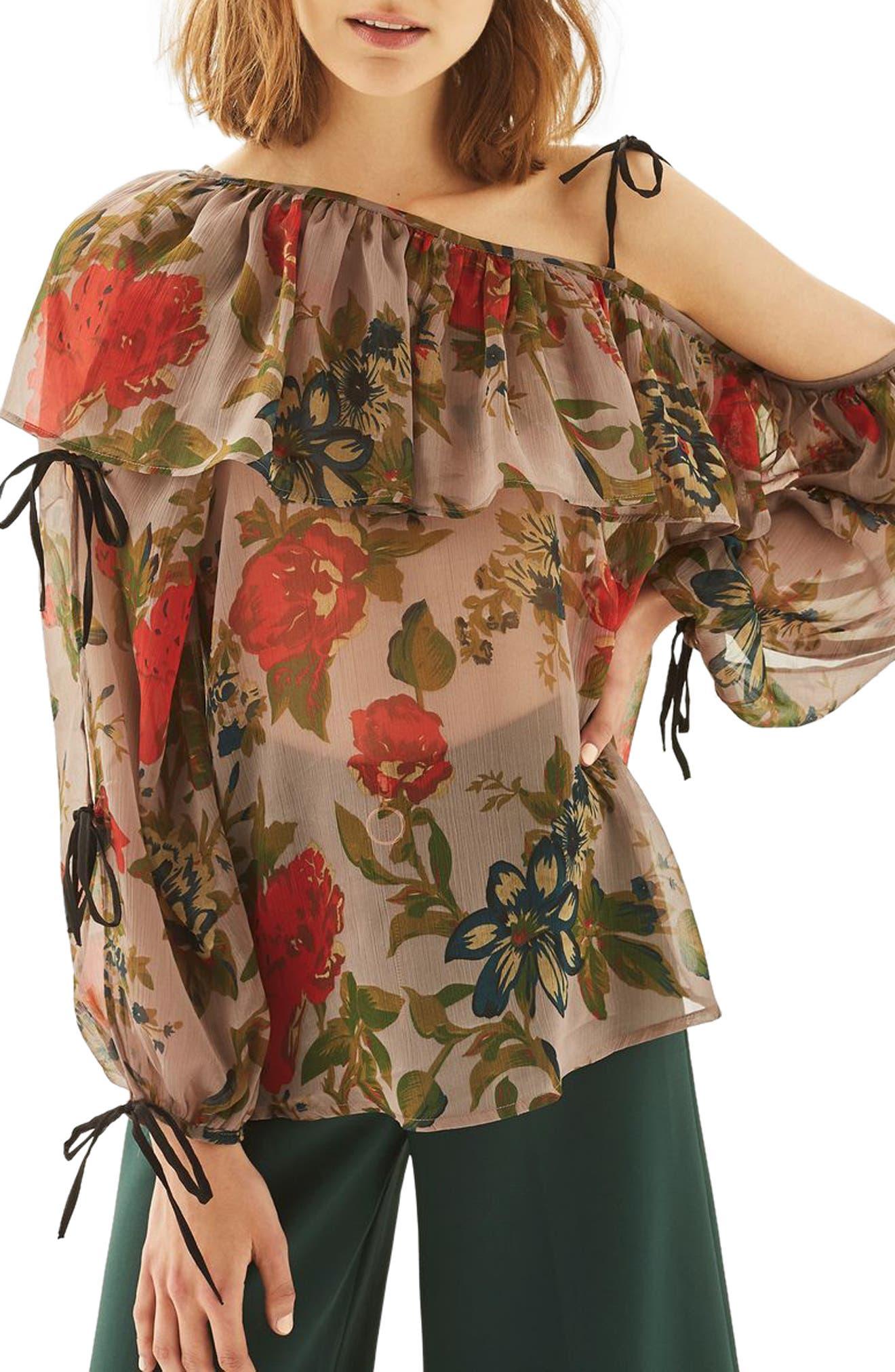 Topshop One-Shoulder Floral Top