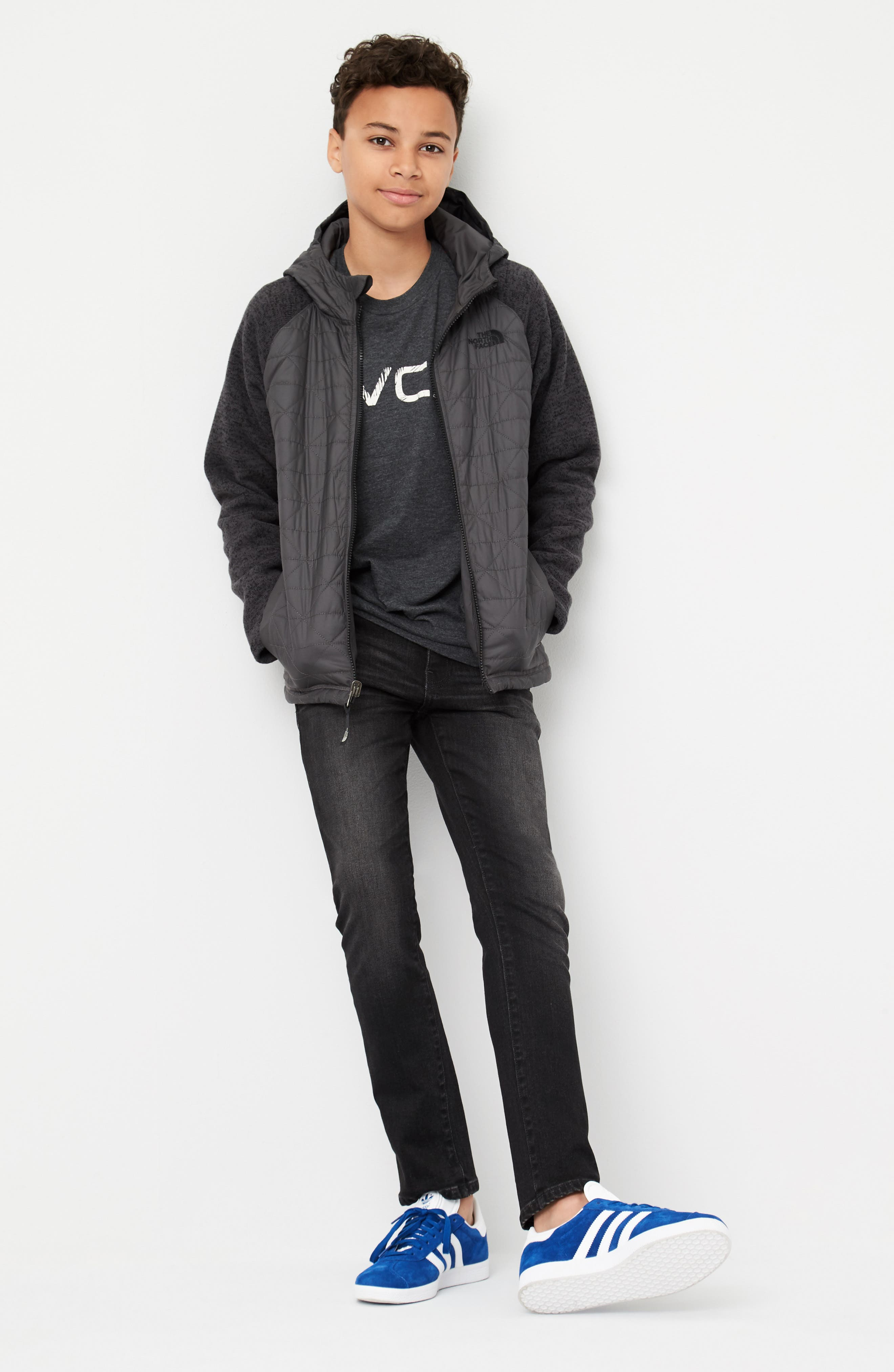 The North Face Hoodie, RVCA T-Shirt & DL1961 Jeans Outfit with Accessories (Big Boys)