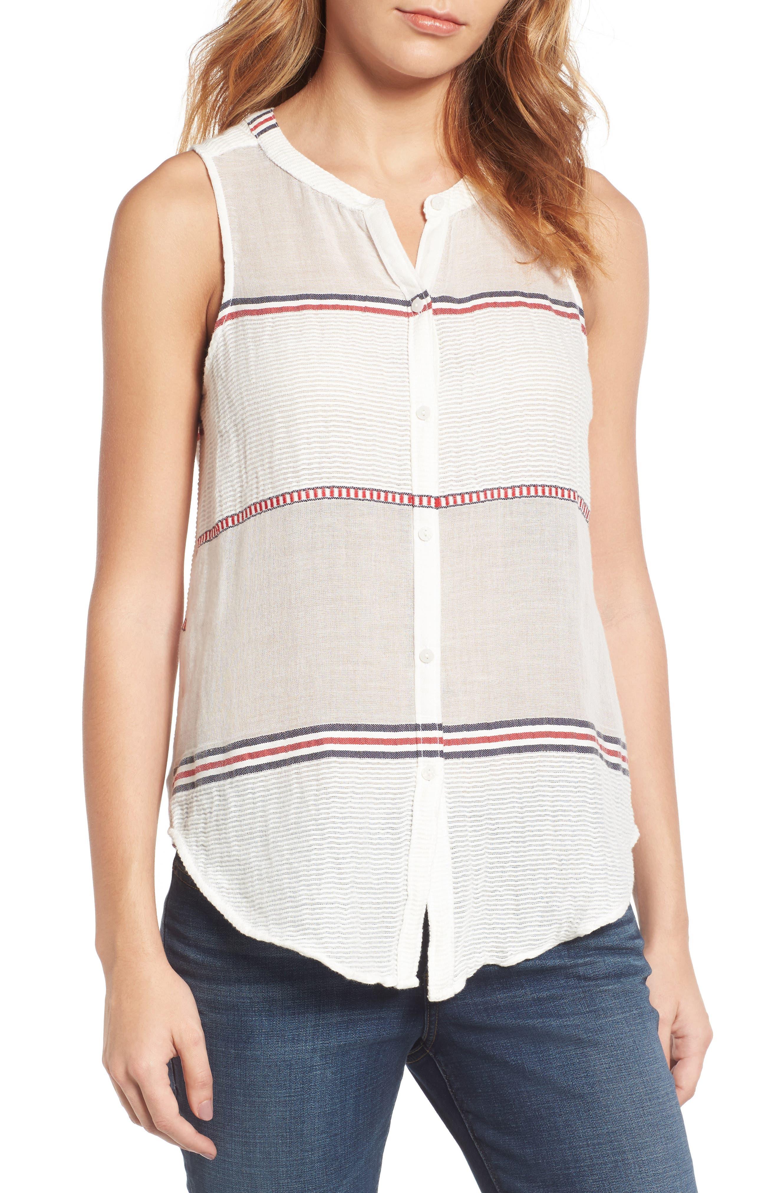 Lucky Brand Stripe Cotton Blend Top
