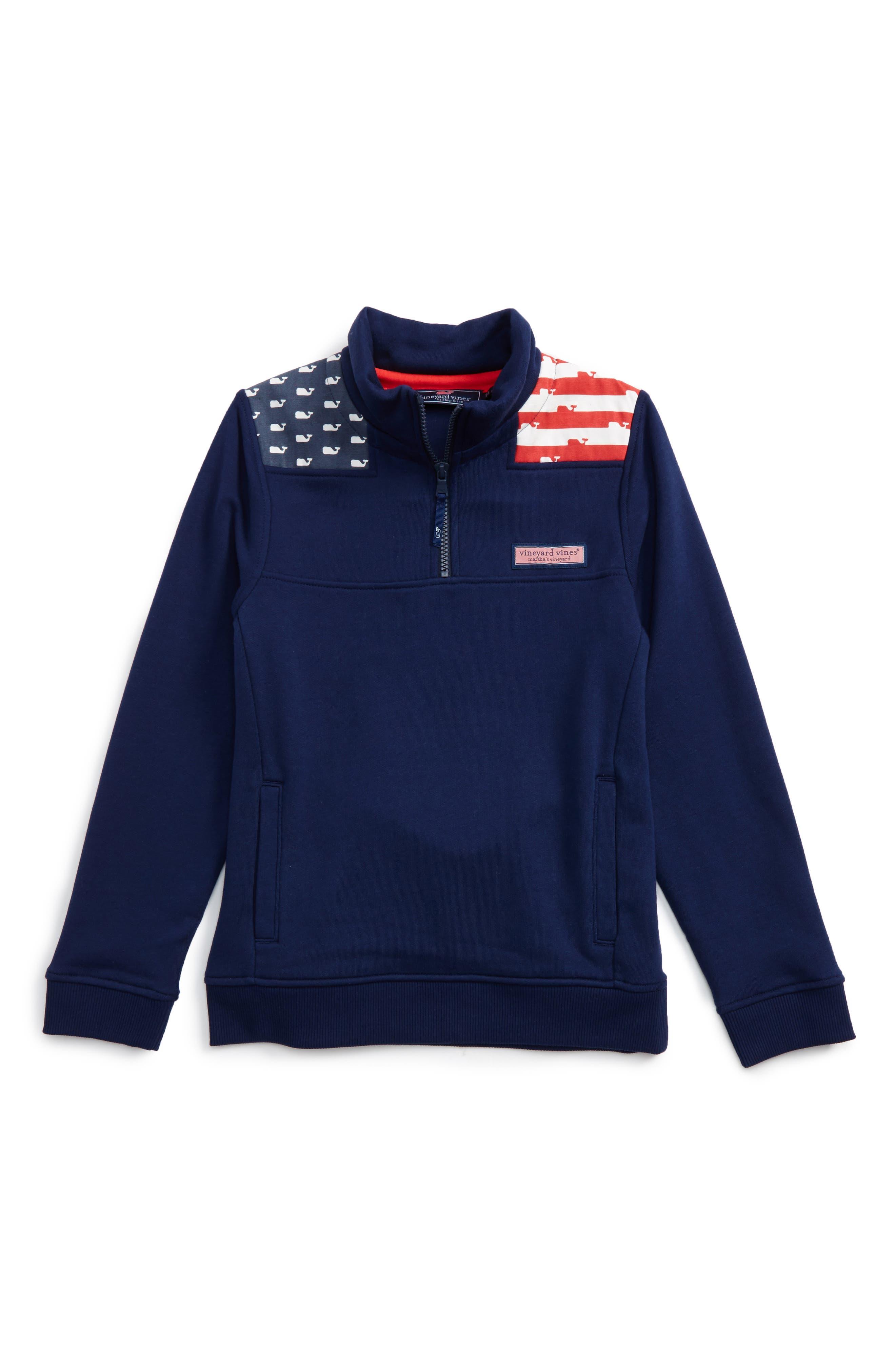 Vineyard Vines USA Shep Quarter Zip Pullover Sweatshirt (Big Boys)