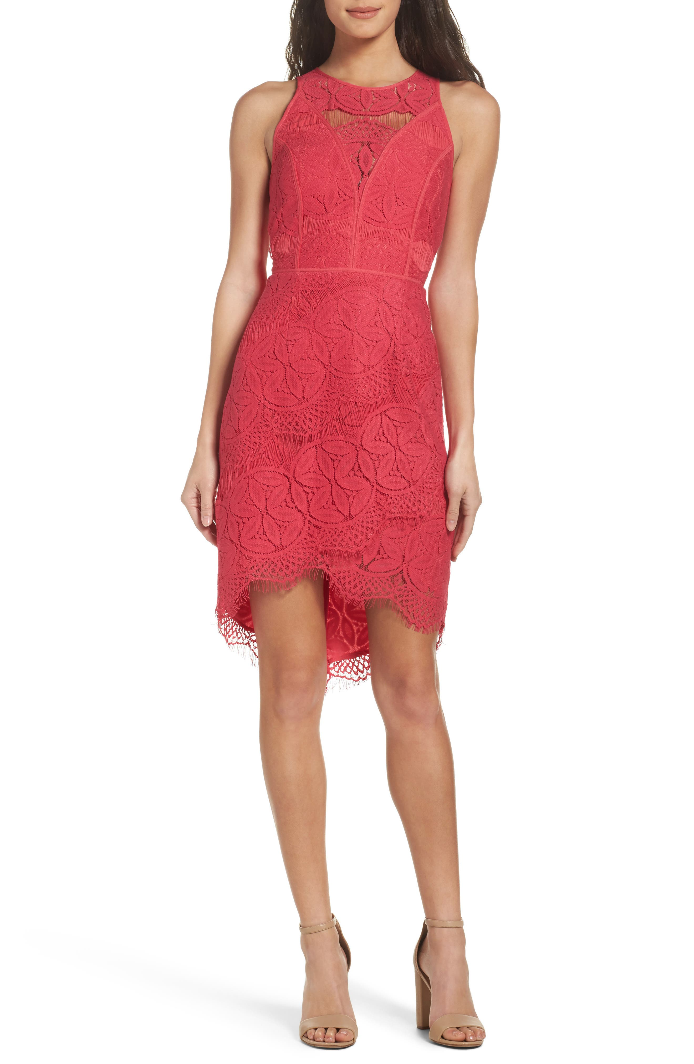 Adelyn Rae Lace High/Low Sheath Dress
