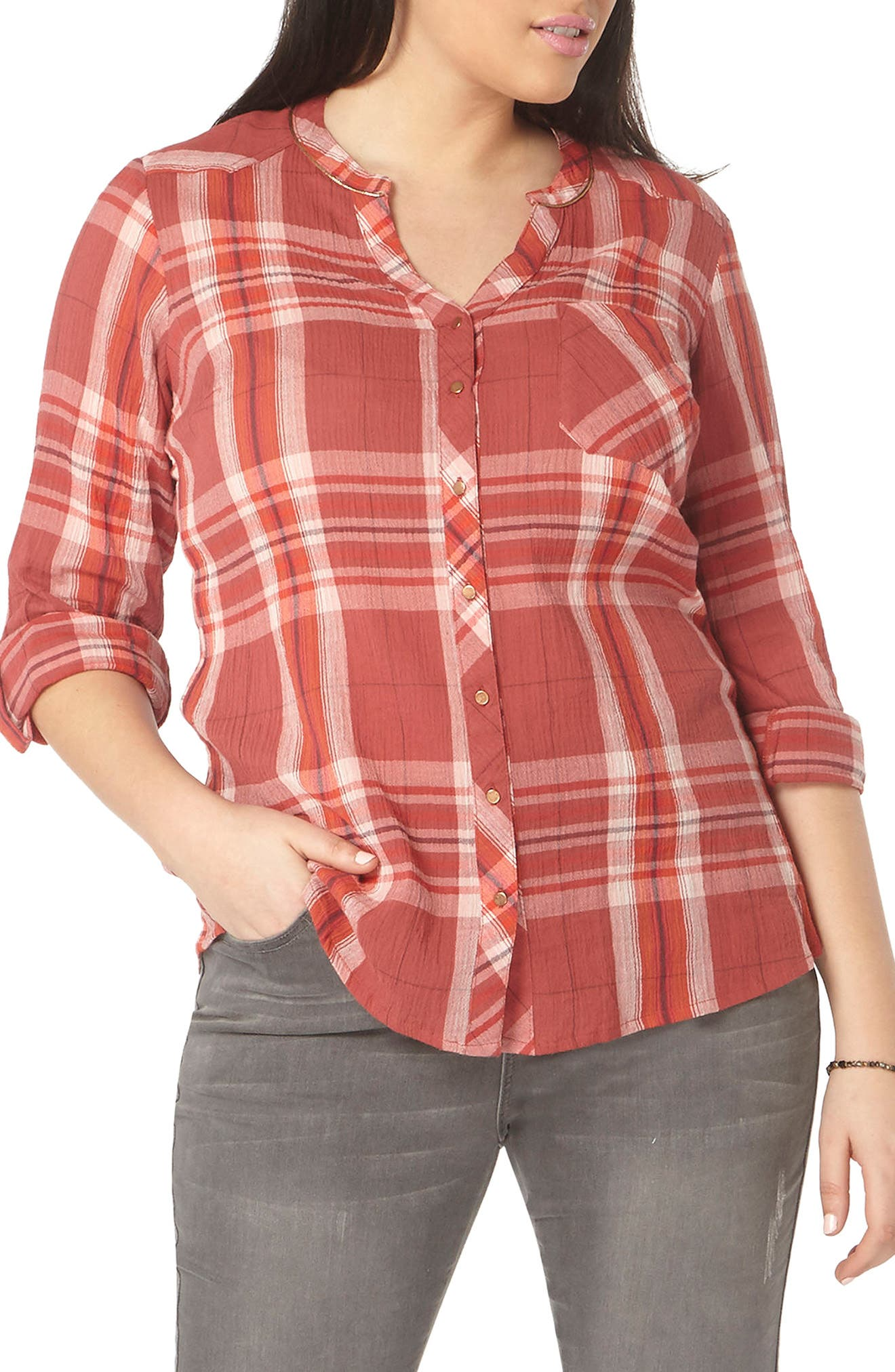 Evans Plaid Crinkle Cotton Shirt (Plus Size)