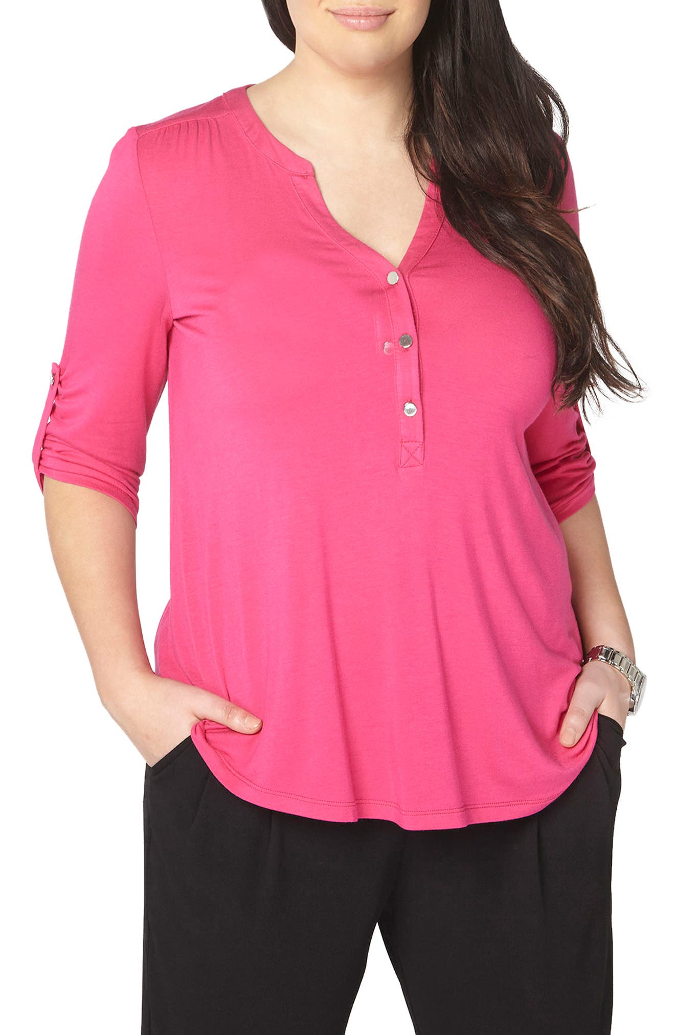 Evans Henley Top (Plus Size)