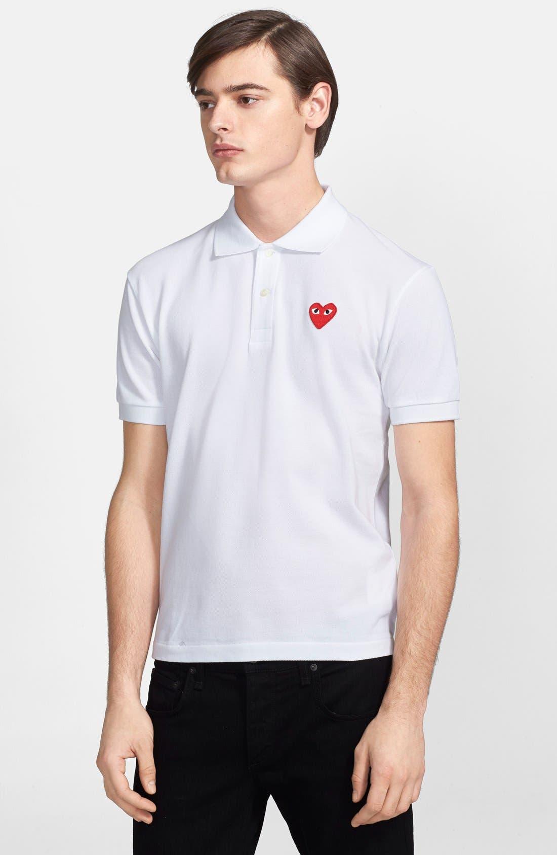 Comme des Garçons PLAY Piqué Polo with Heart Appliqué