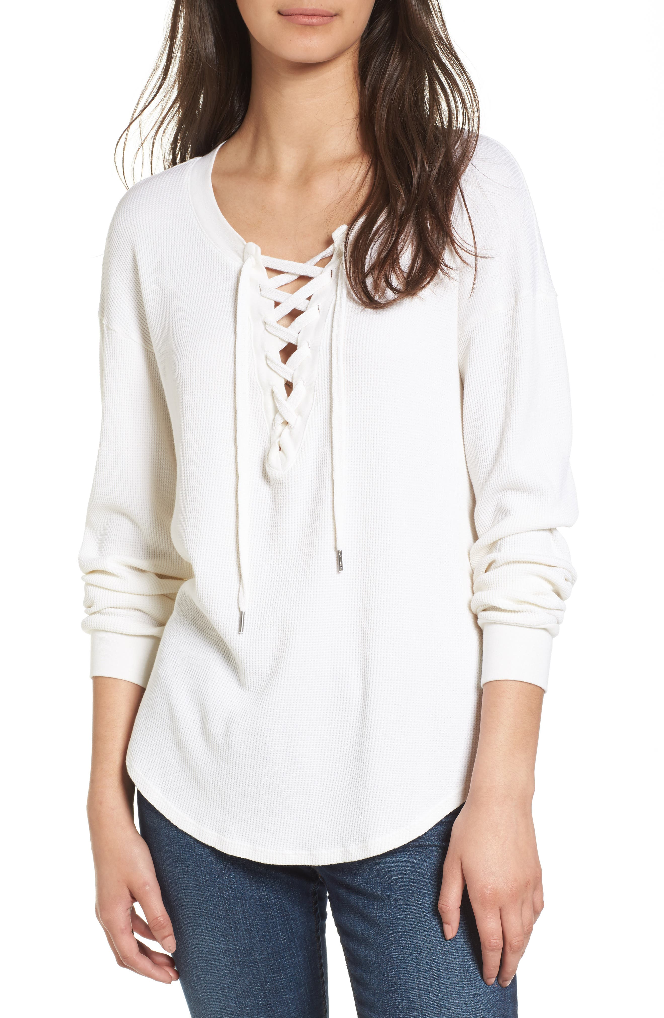 Splendid Lace-Up Thermal Shirt