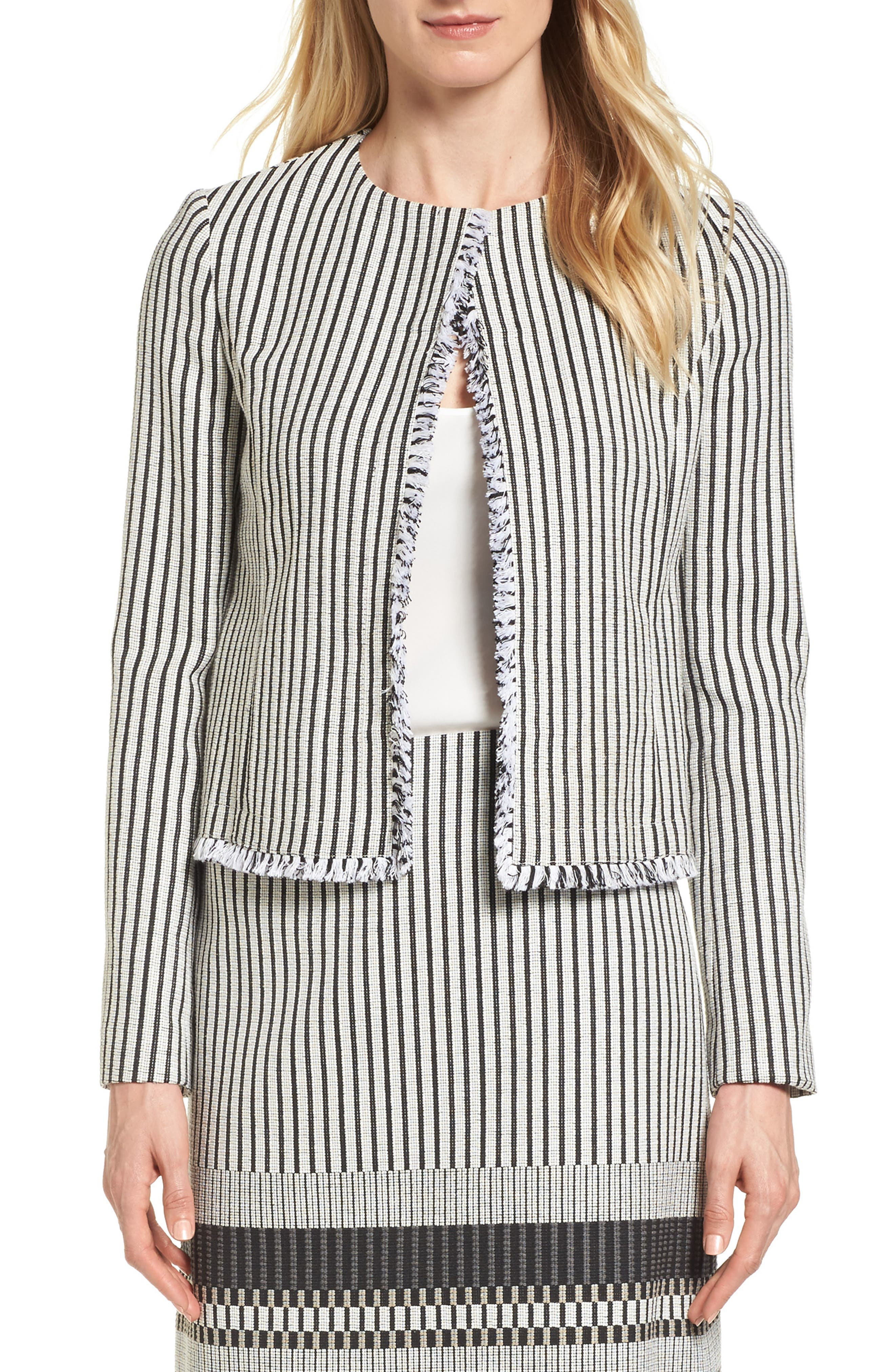BOSS Komina Stripe Bouclé Suit Jacket