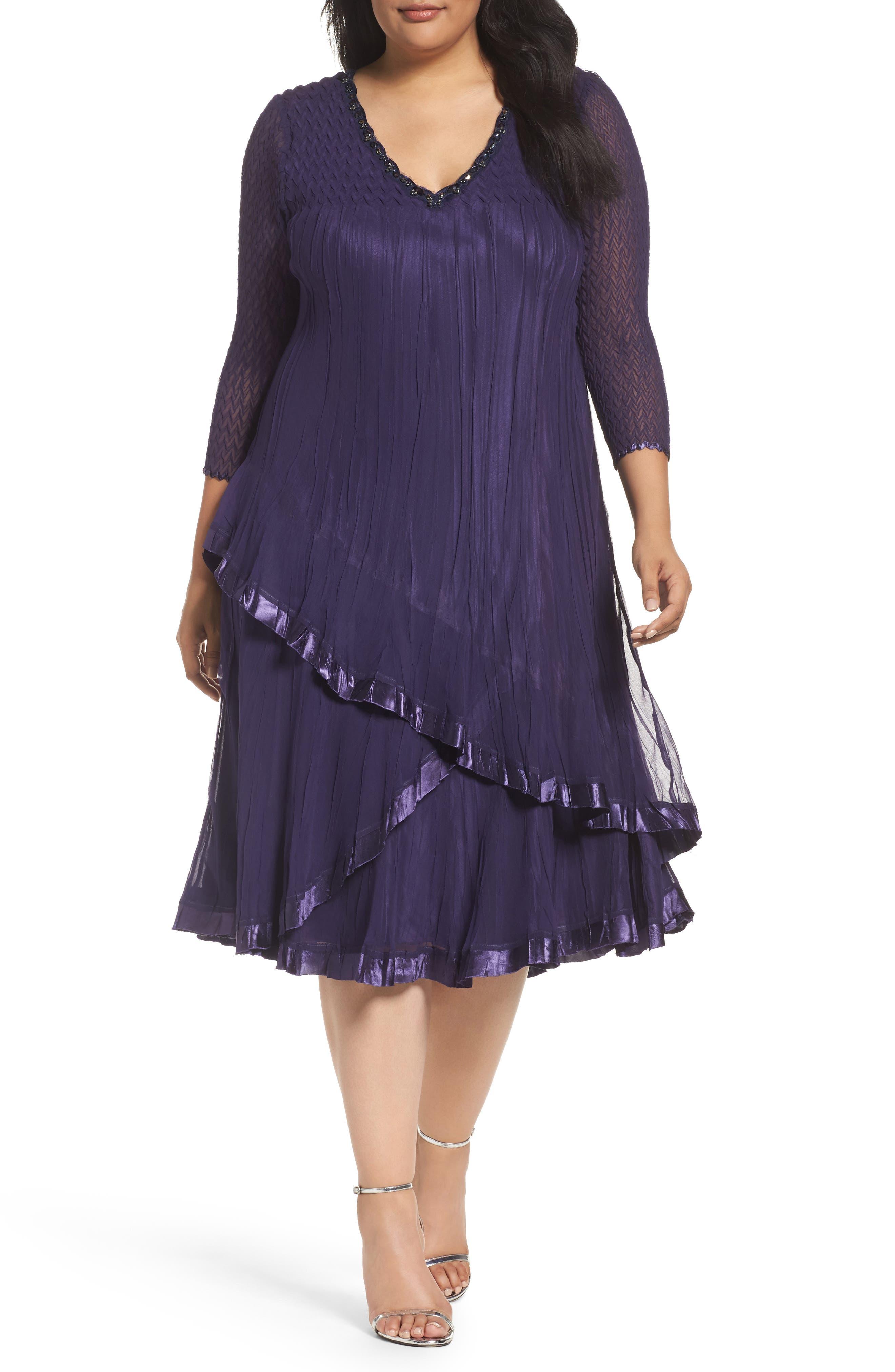 Komarov Embellished Tiered A-Line Dress (Plus Size)