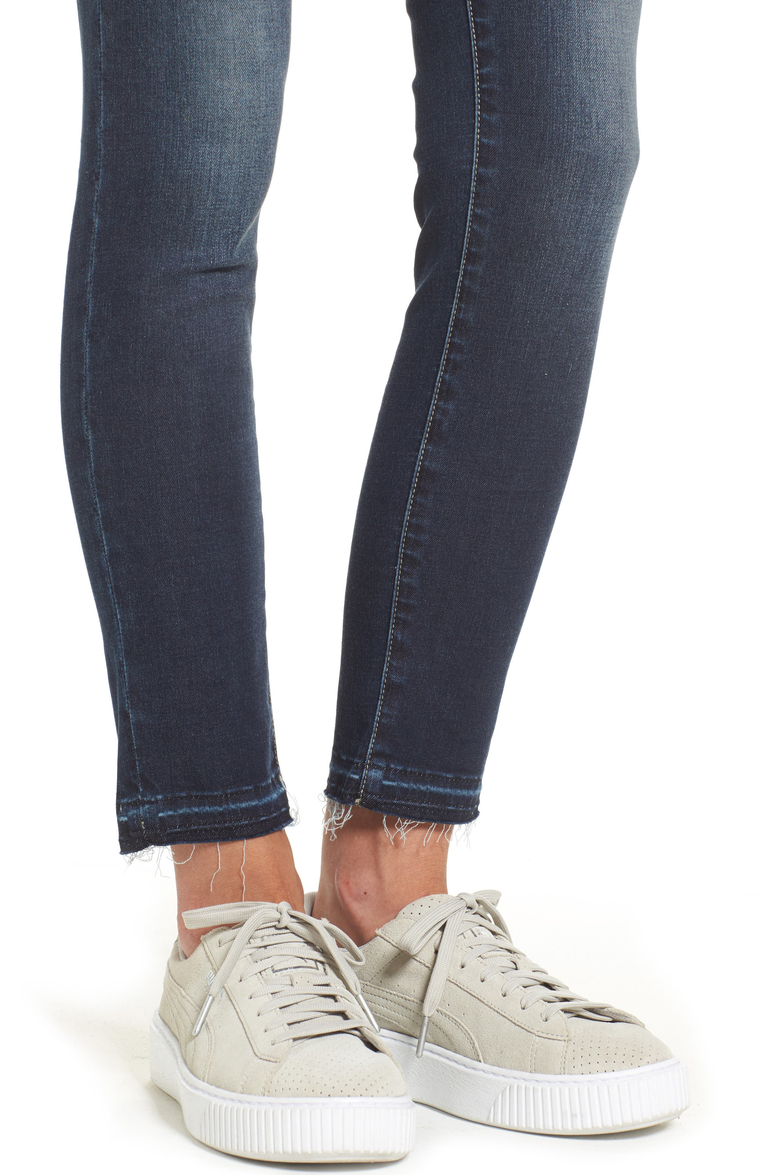 Alternate Image 4  - Articles of Society Carly Release Hem Crop Skinny Jeans (Blue Fly)