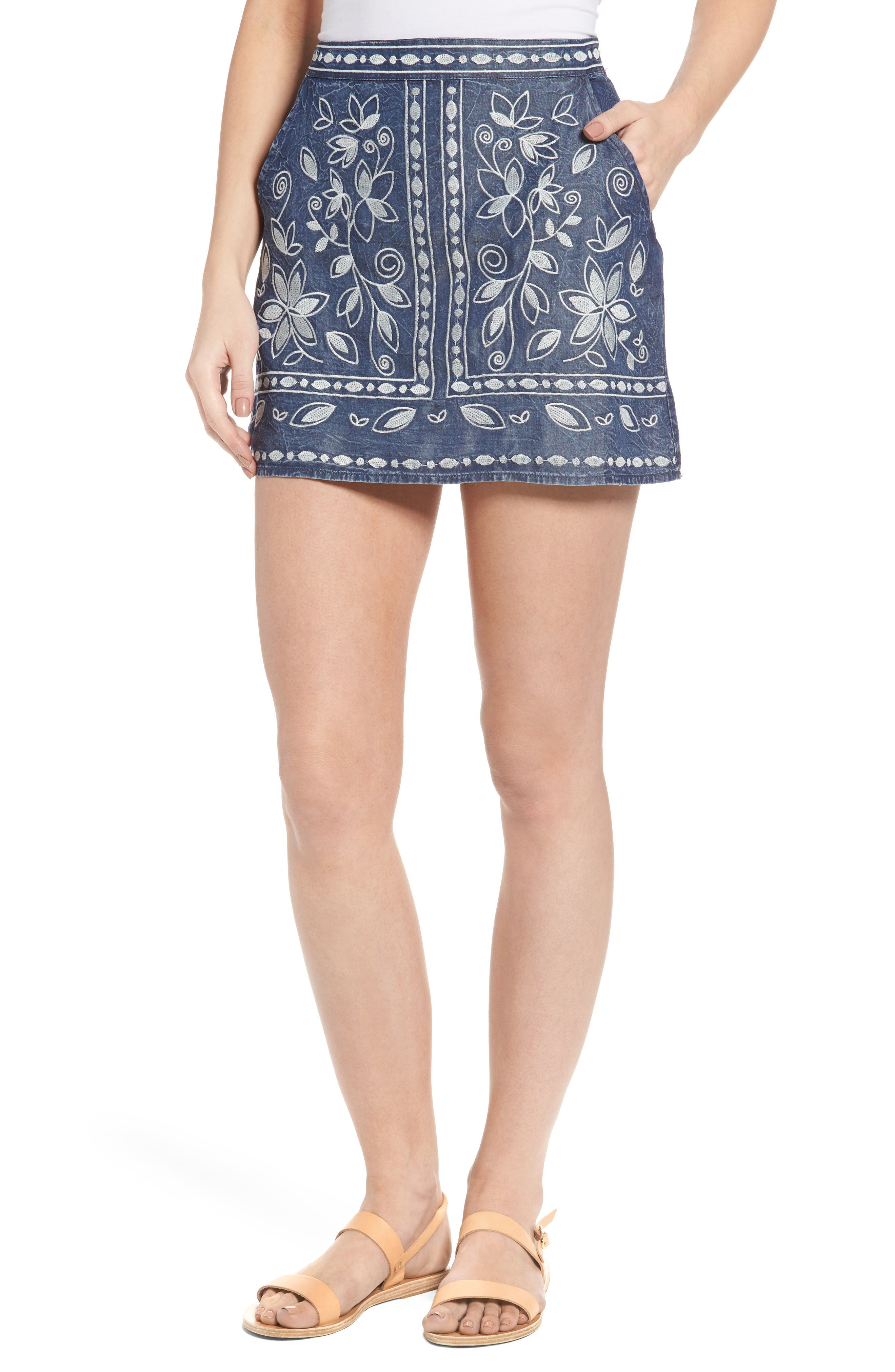 Chloe & Katie Embroidered Denim Miniskirt