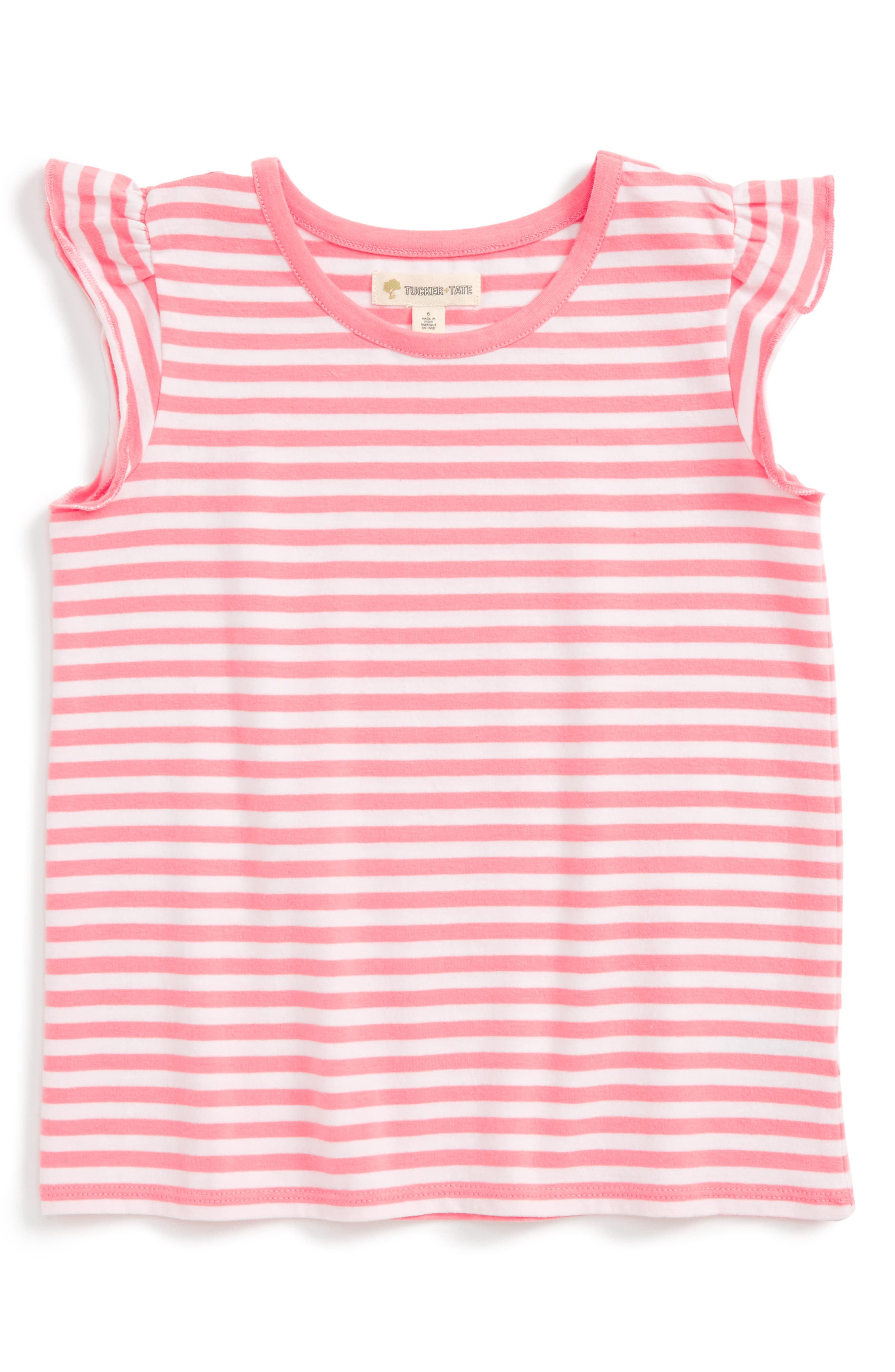 Tucker + Tate Stripe Flutter Sleeve Tee (Toddler Girls, Little Girls & Big Girls)