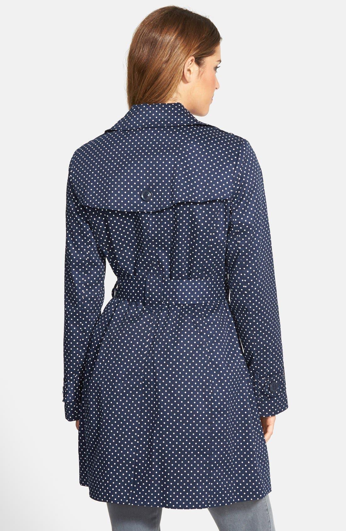 Alternate Image 2  - London Fog Polka Dot Single Breasted Trench Coat (Regular & Petite)