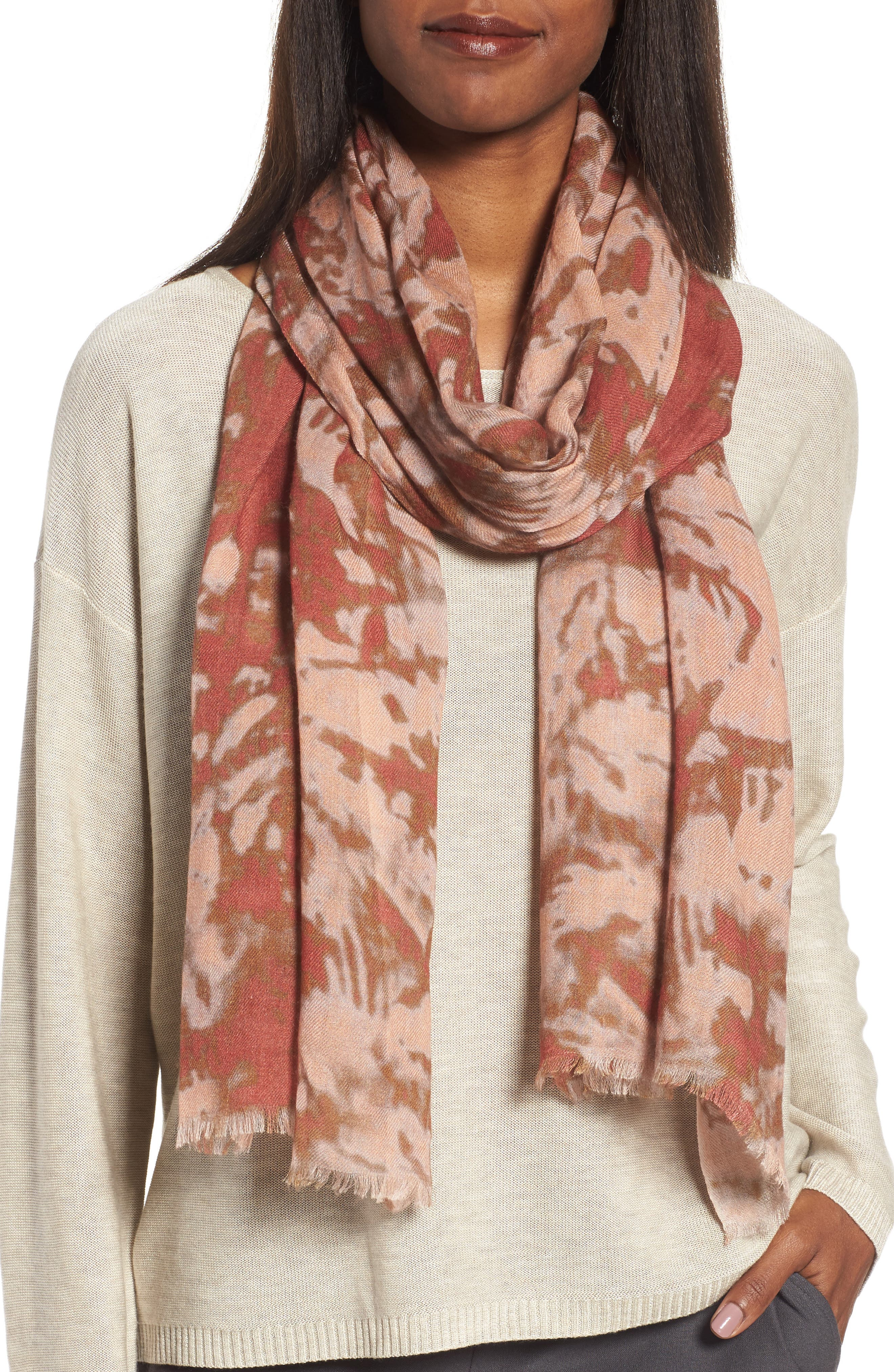 Eileen Fisher Print Silk & Wool Scarf