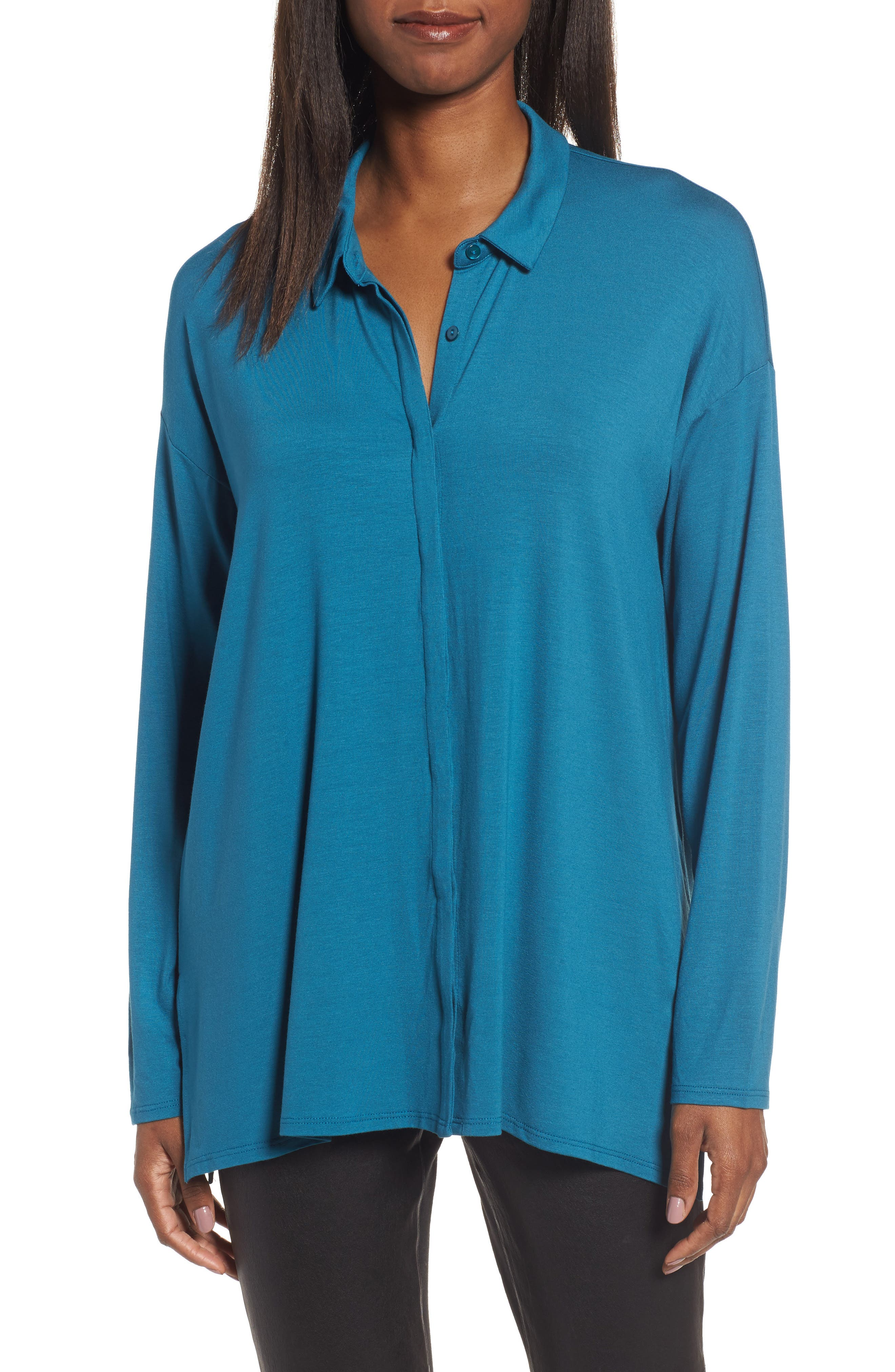 Eileen Fisher Button-Up Jersey Top