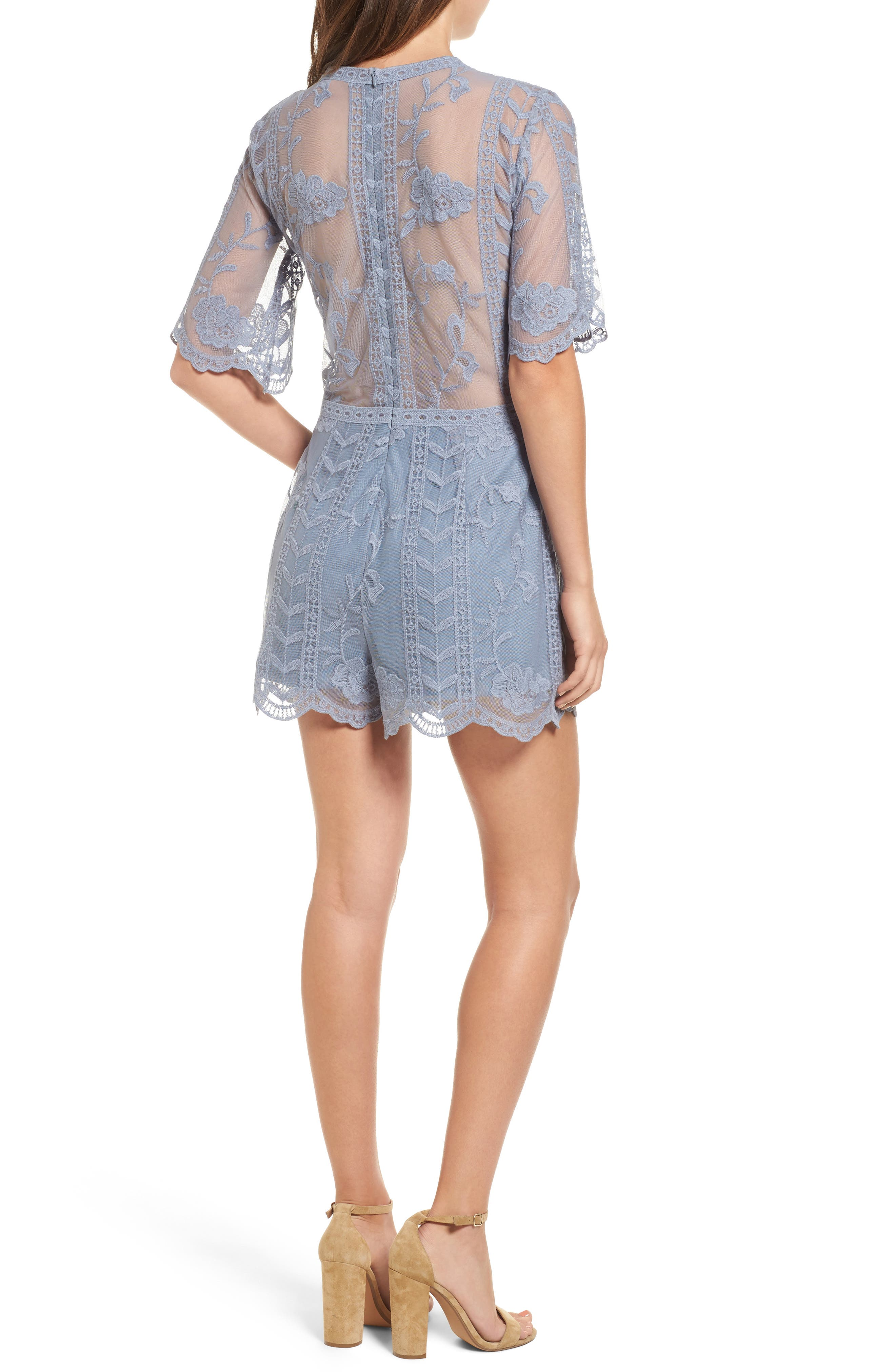 Alternate Image 2  - Socialite Plunging Lace Romper