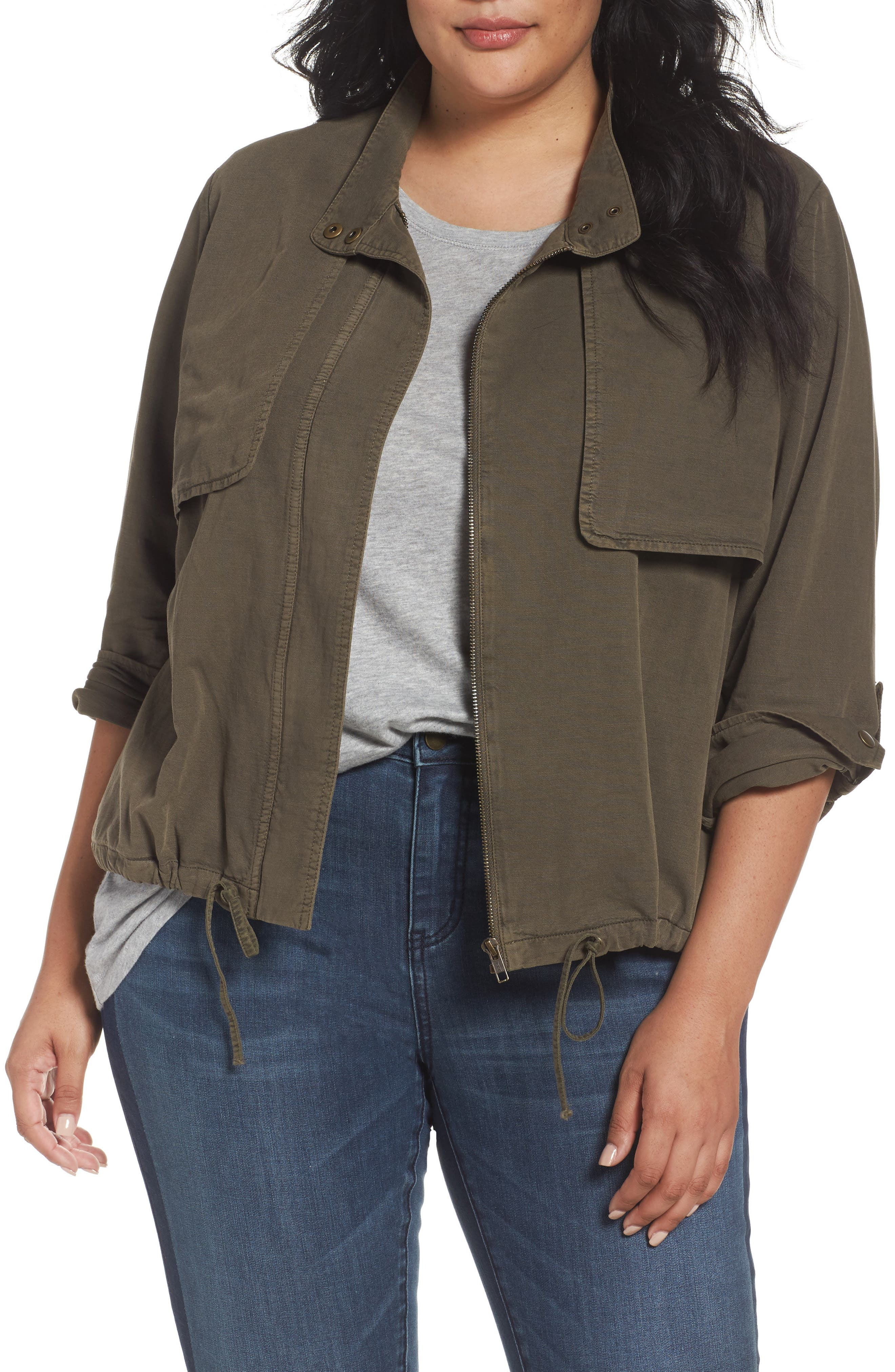 Caslon® Crop Utility Jacket (Plus Size)