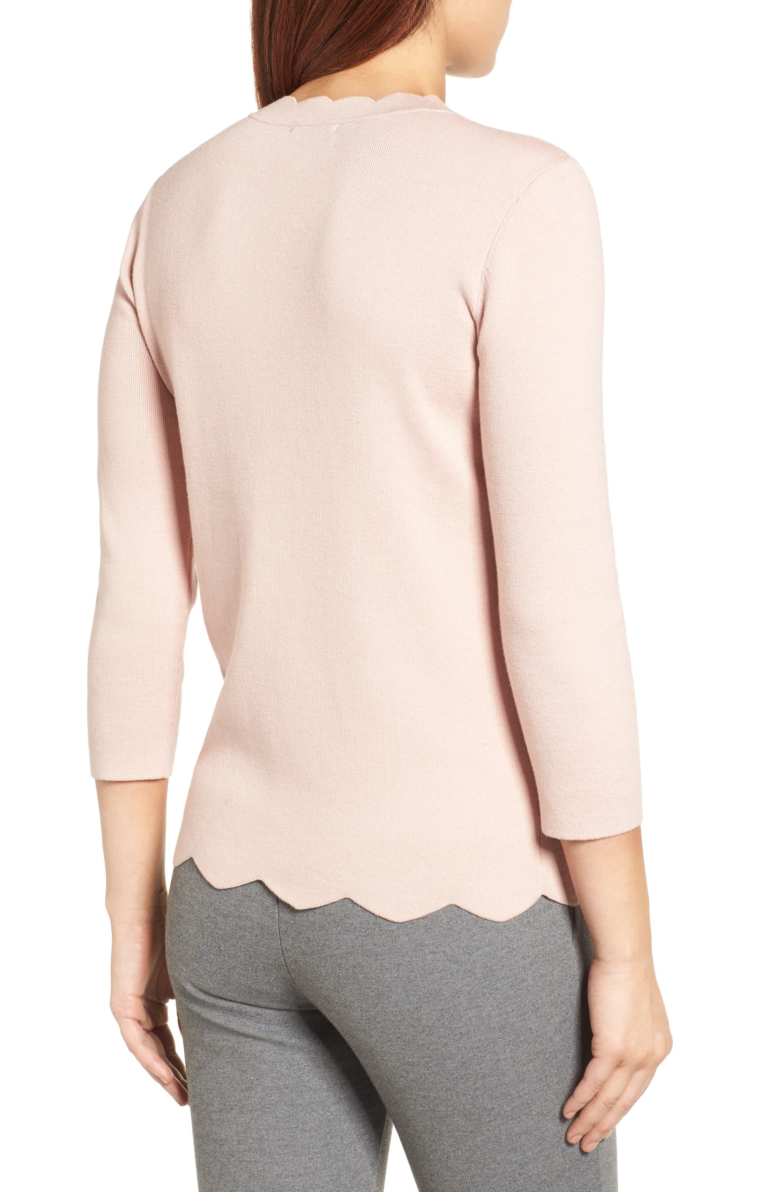 Alternate Image 2  - Halogen Scallop Edge Sweater (Regular & Petite)