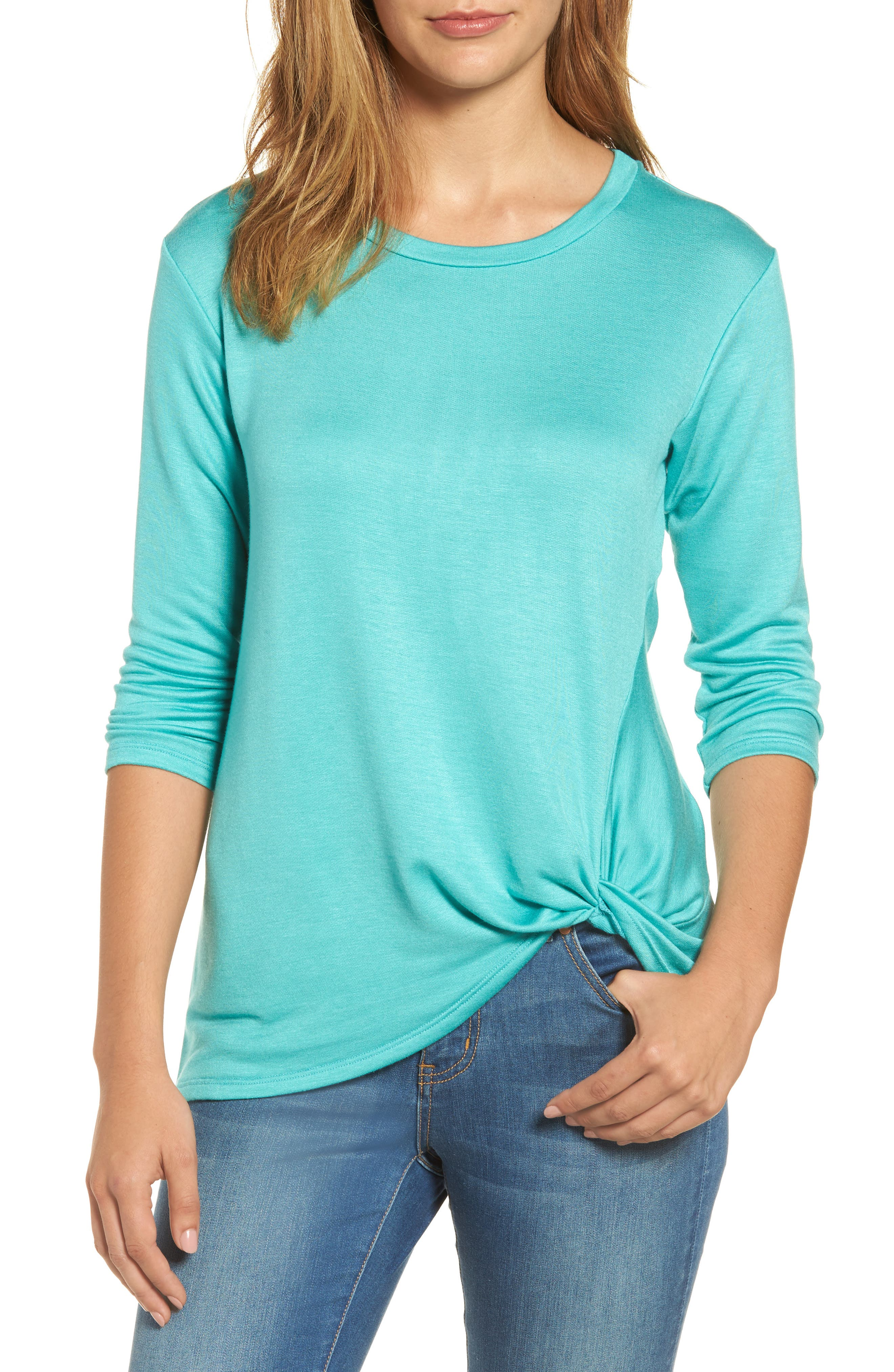 Bobeau Lightweight Twist Hem Top (Regular & Petite)
