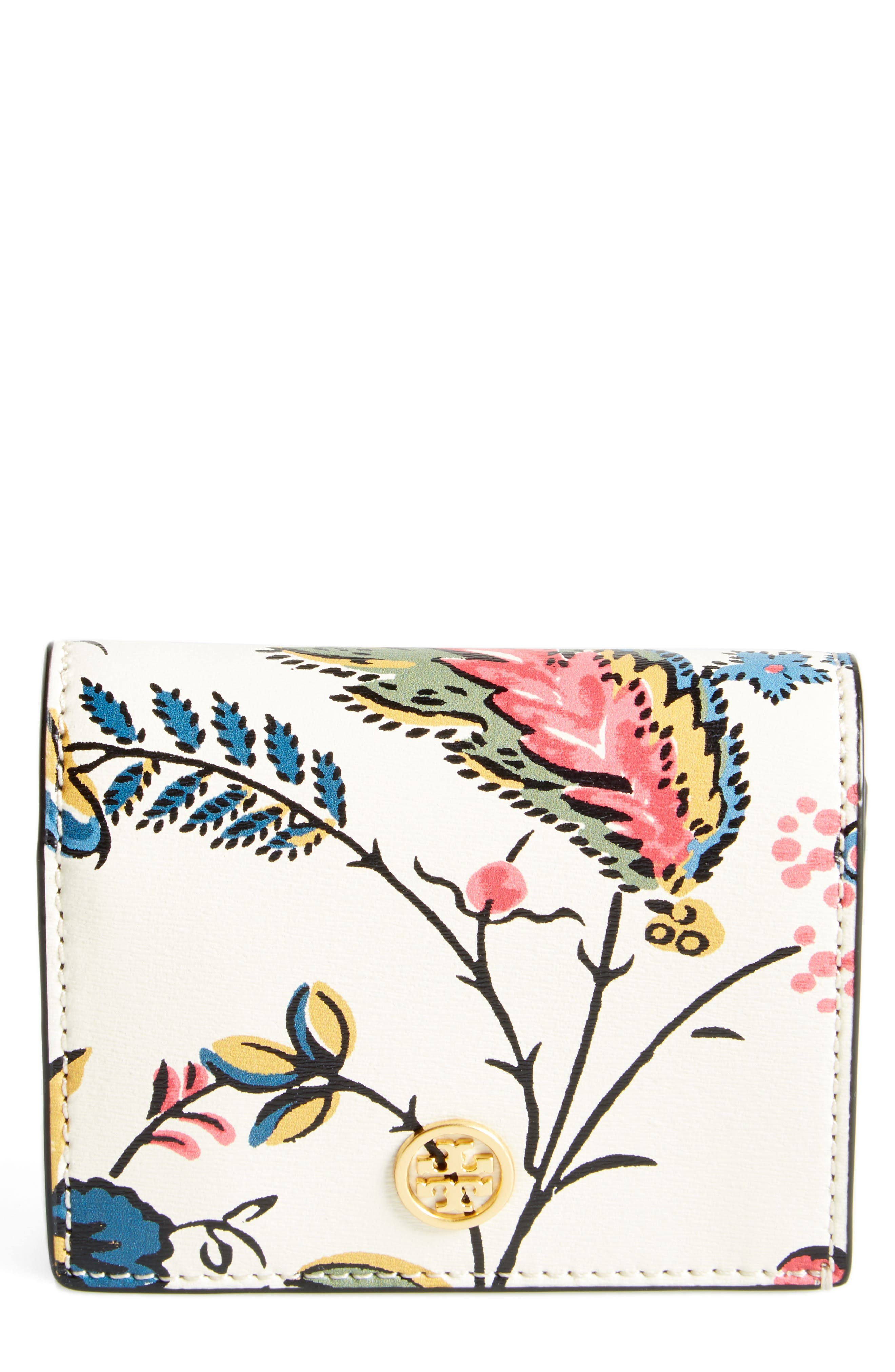 Tory Burch Floral Leather Mini Wallet