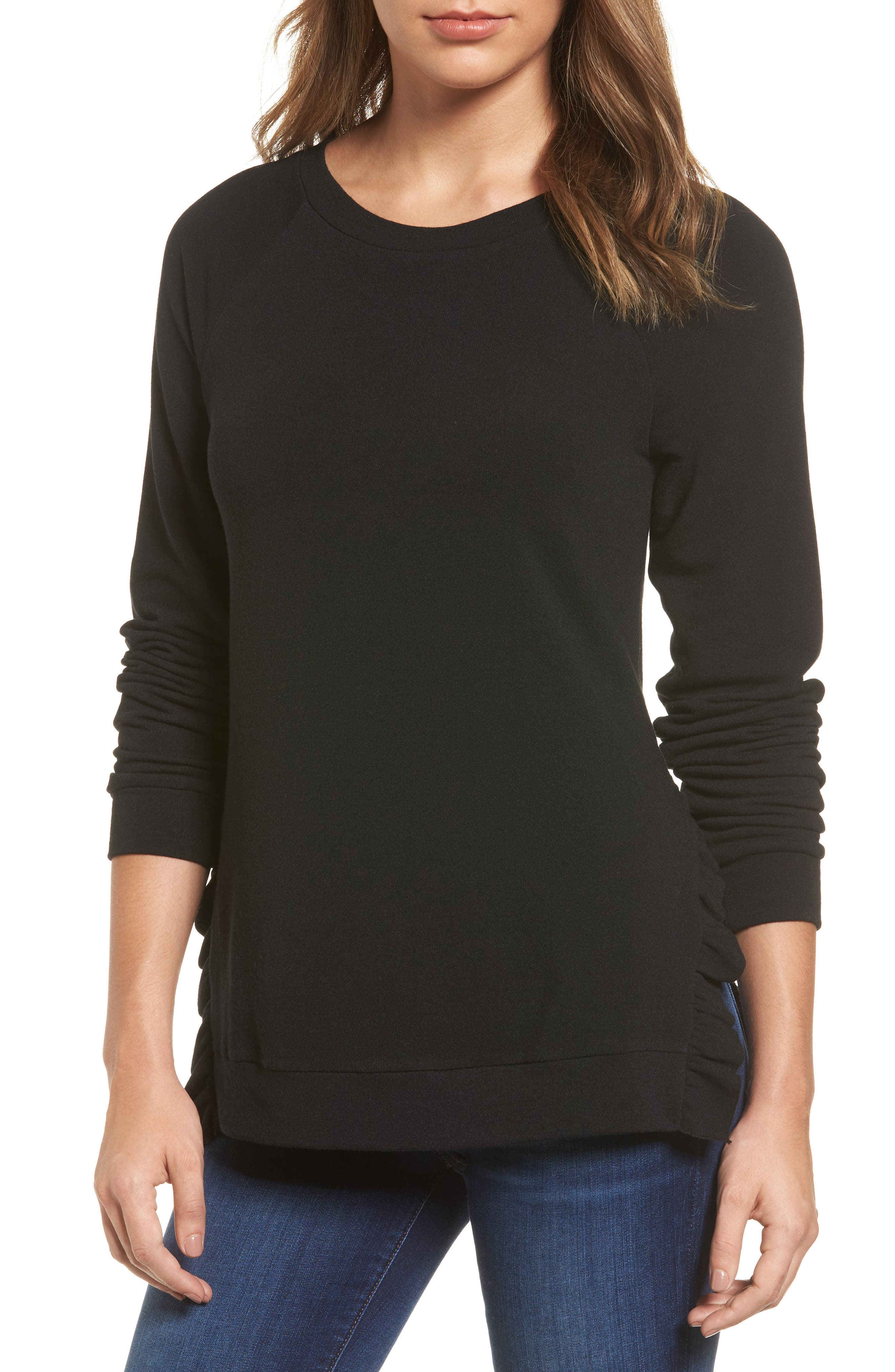 Pleione Ruffle Trim Sweatshirt (Regular & Petite)