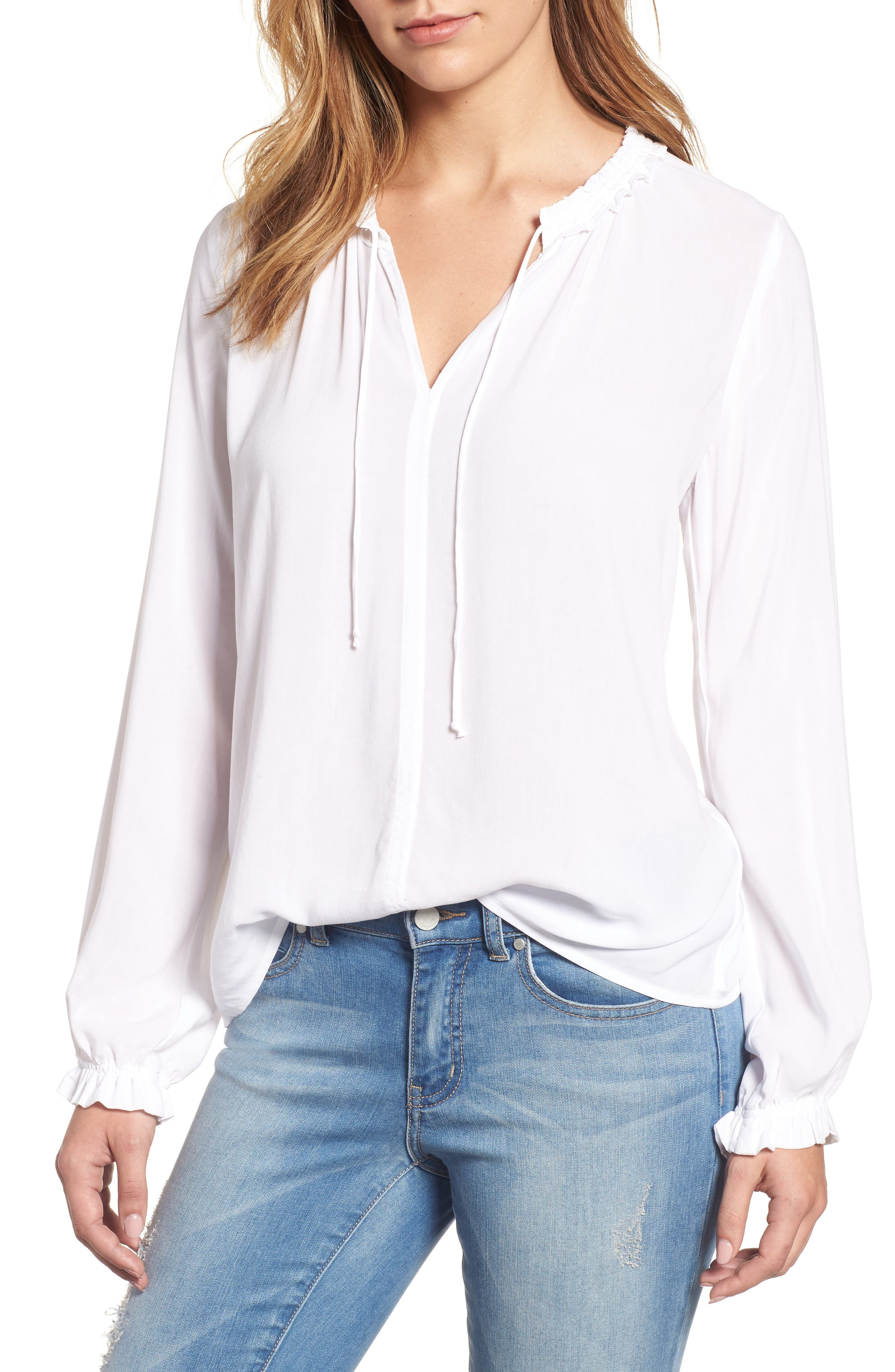 Velvet by Graham & Spencer Ruffle Tie Neck Top